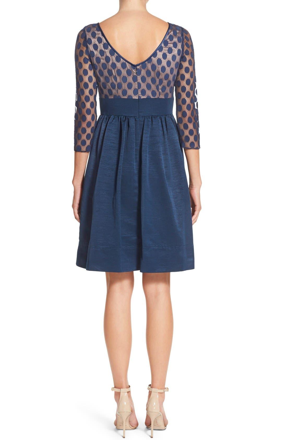 Dot Mesh Bodice Fit & Flare Dress,                             Alternate thumbnail 7, color,