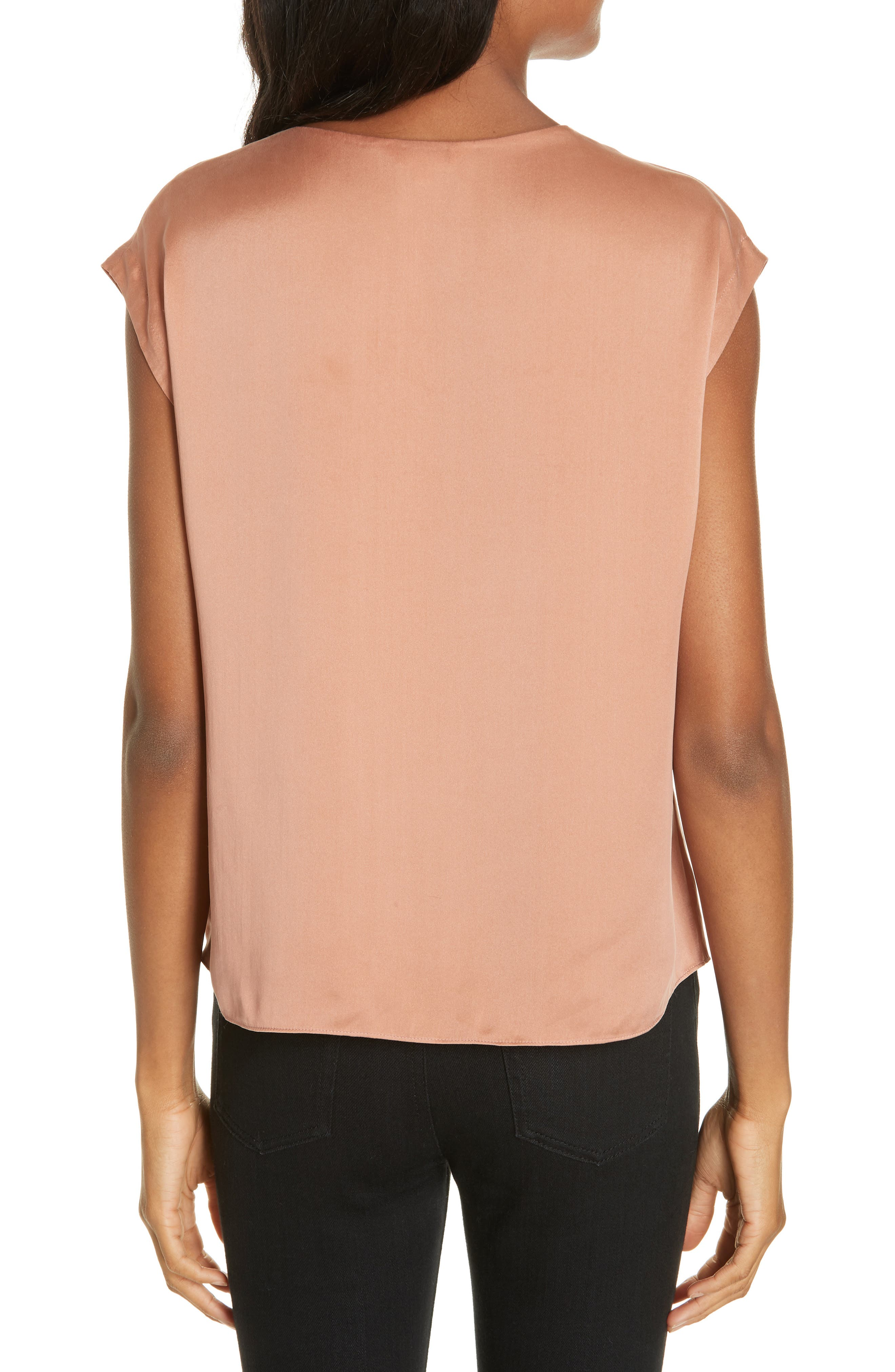Charmeuse Knot Silk Top,                             Alternate thumbnail 2, color,                             COPPER