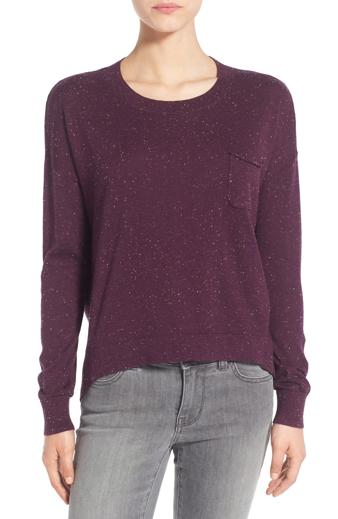 Pleat Back High/Low Crewneck Sweater,                             Main thumbnail 6, color,