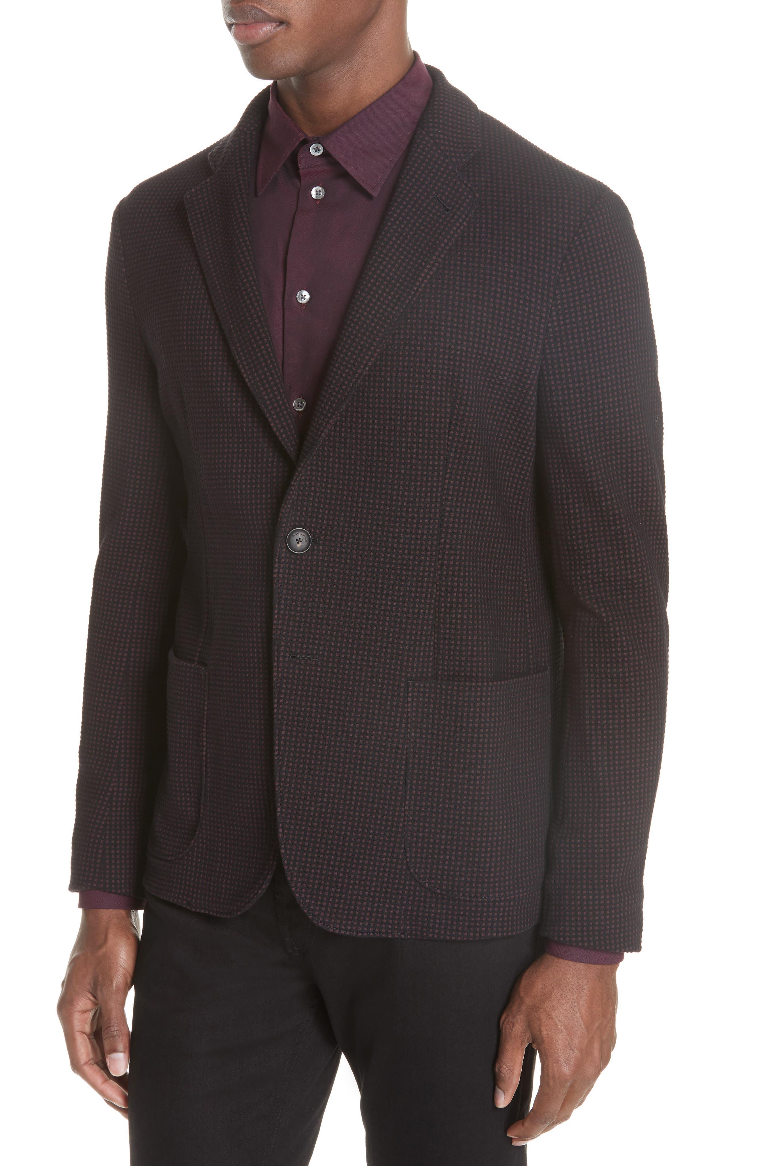Trim Fit Check Cotton Sport Coat,                             Alternate thumbnail 4, color,                             BURGUNDY