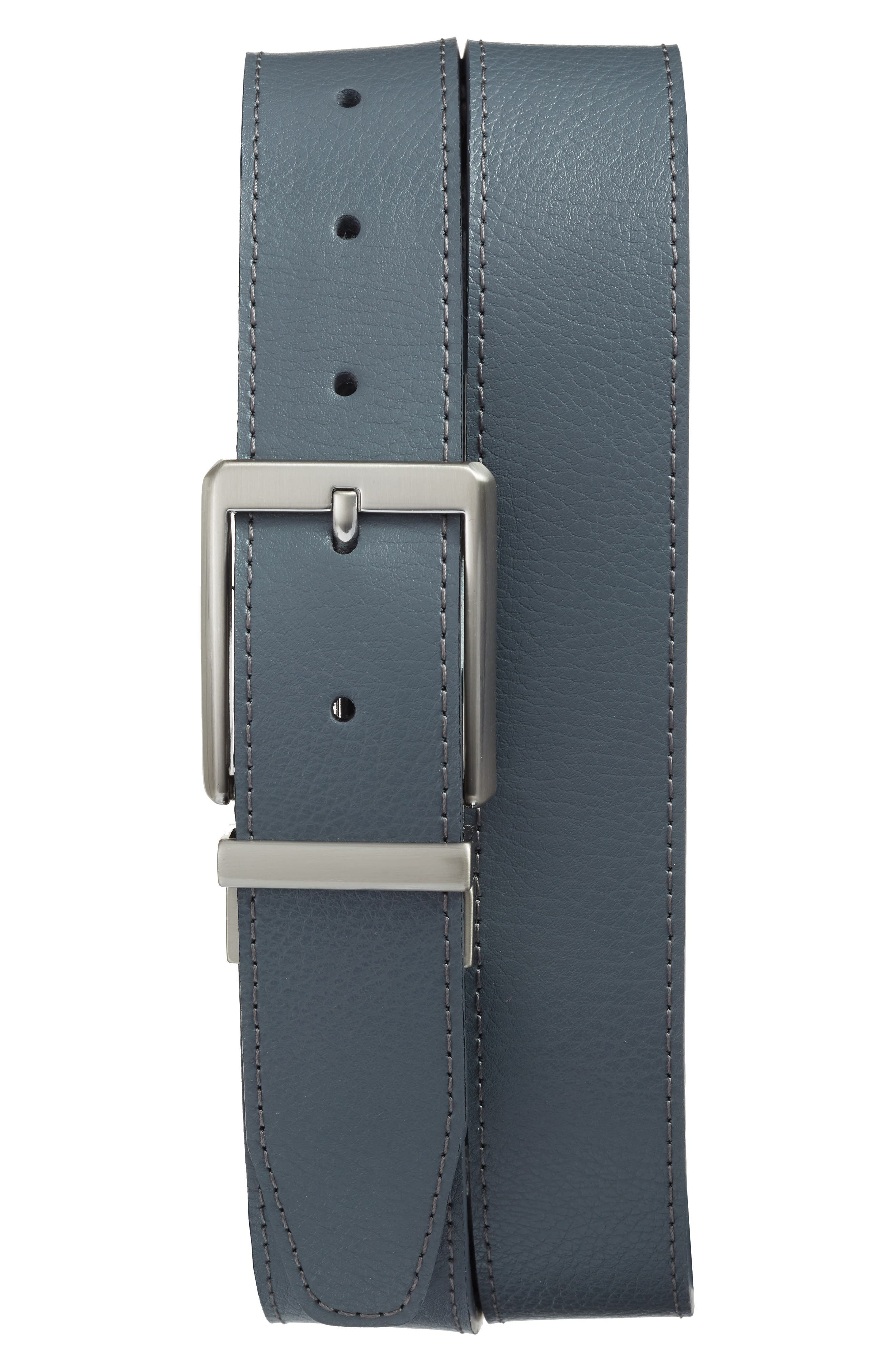 Core Reversible Leather Belt,                             Main thumbnail 1, color,                             DARK GREY