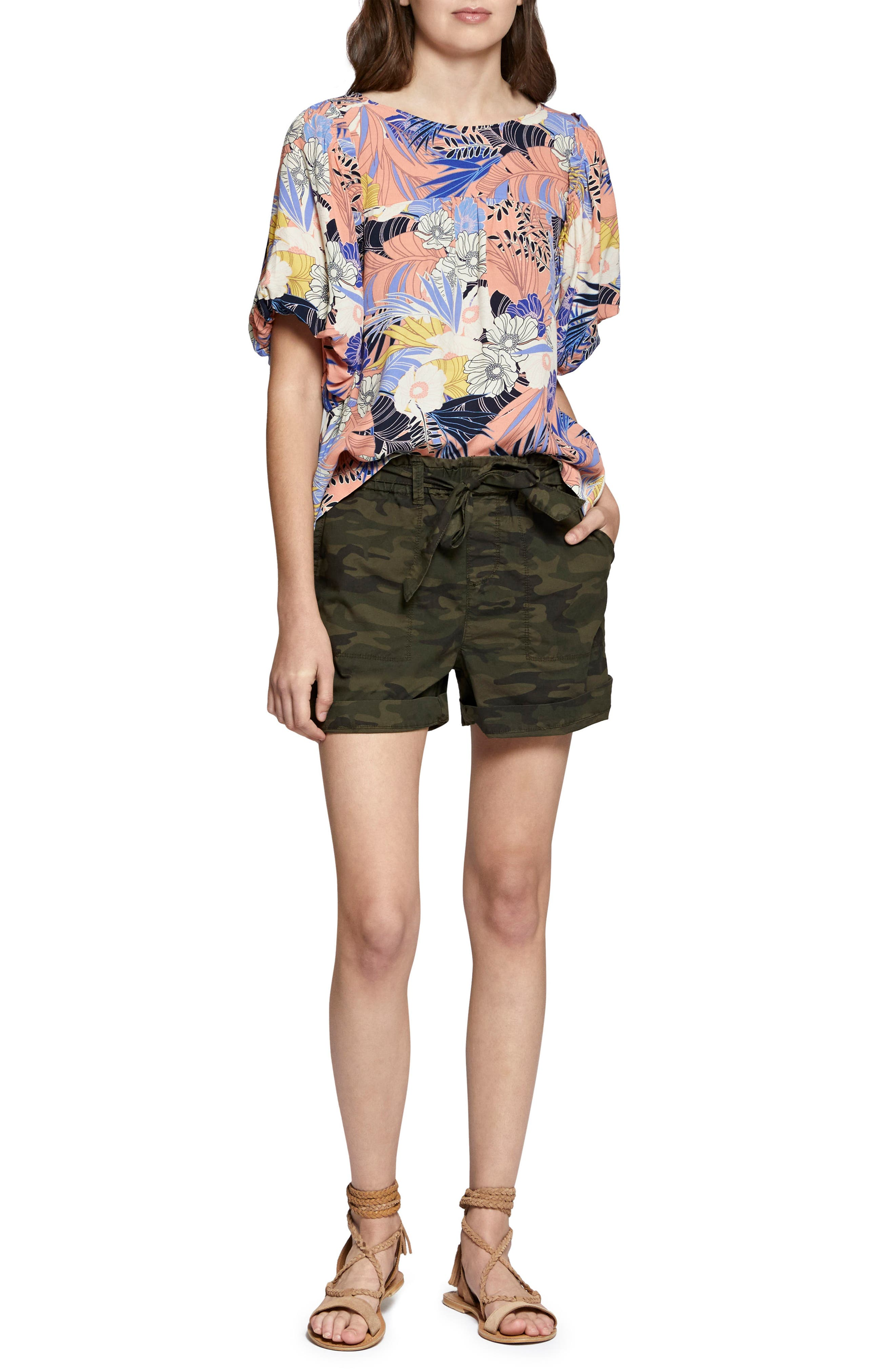 Daydreamer Stretch Cotton Camo Shorts,                             Alternate thumbnail 6, color,                             398