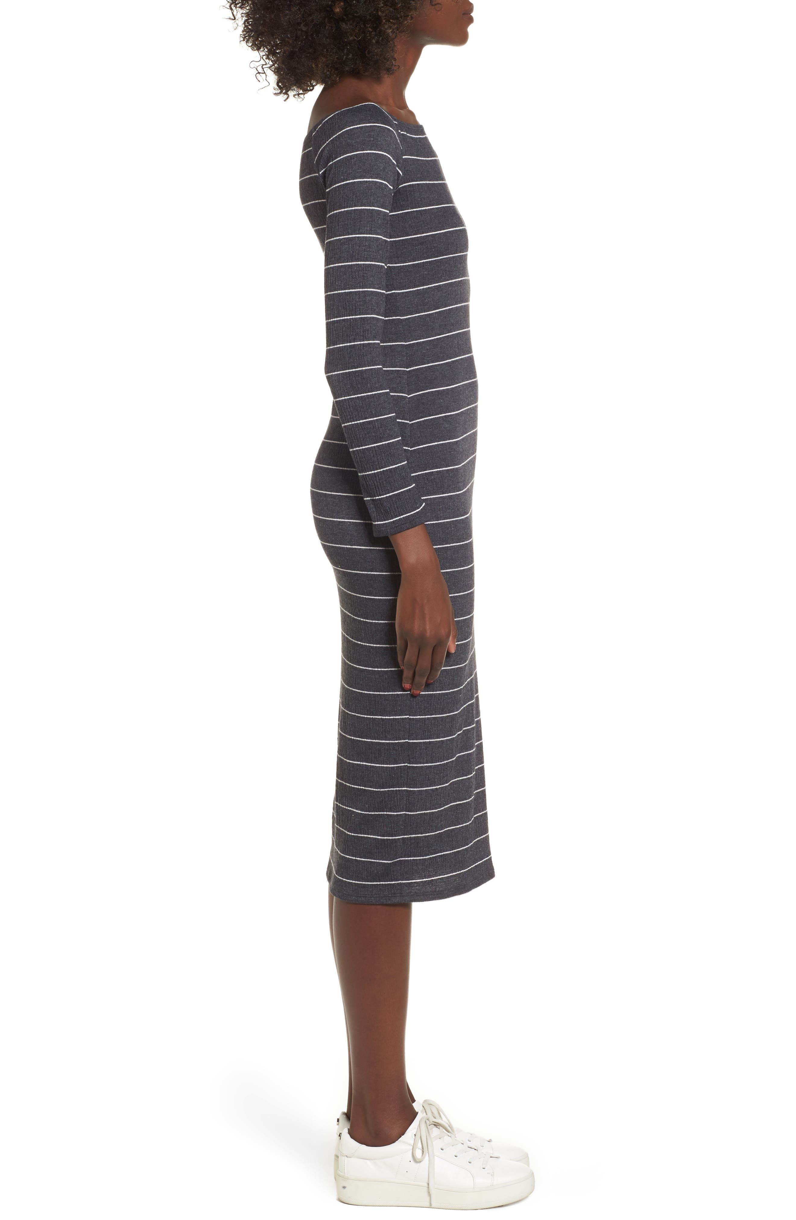 Stripe Off the Shoulder Midi Dress,                             Alternate thumbnail 3, color,                             020