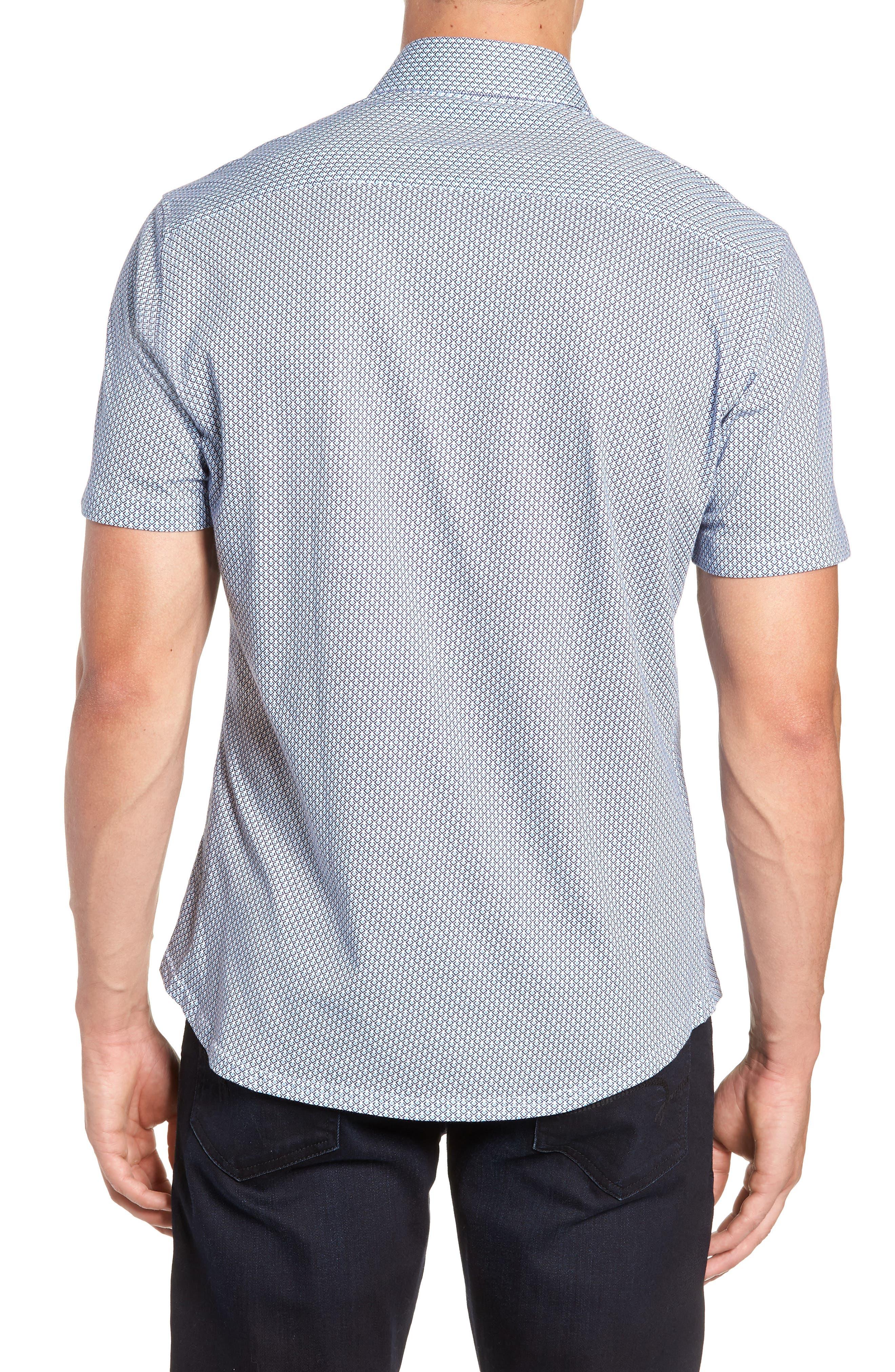 Trim Fit Geo Print Sport Shirt,                             Alternate thumbnail 3, color,                             BLUE