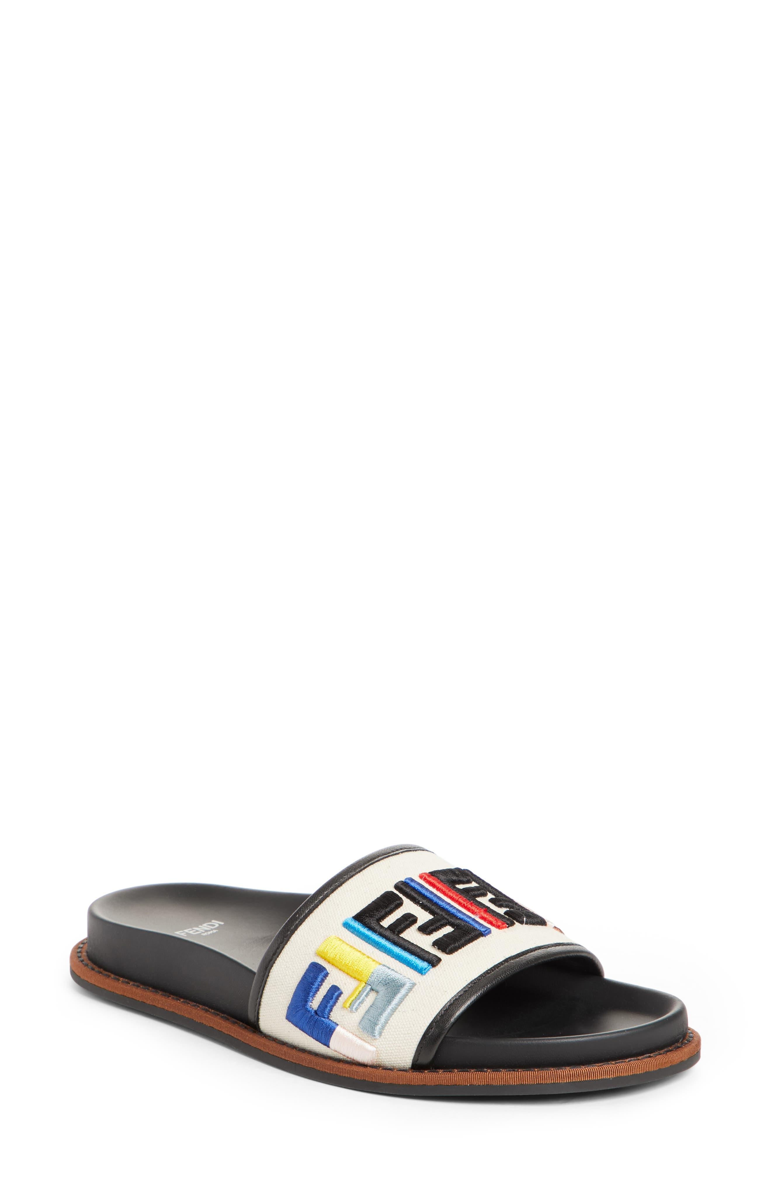 Fun Fendi Logo Slide Sandal,                         Main,                         color, 100