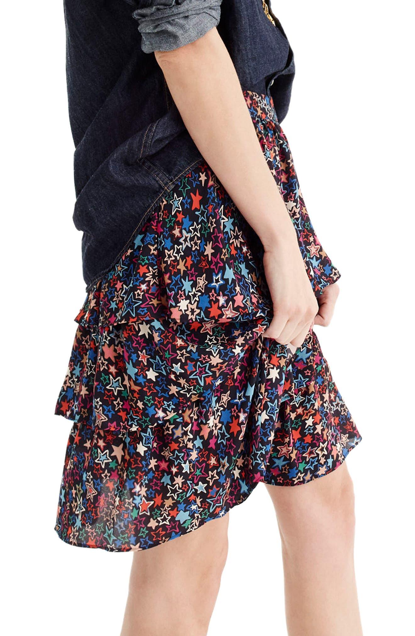 J.CREW,                             Star Print Tiered Skirt,                             Alternate thumbnail 3, color,                             409