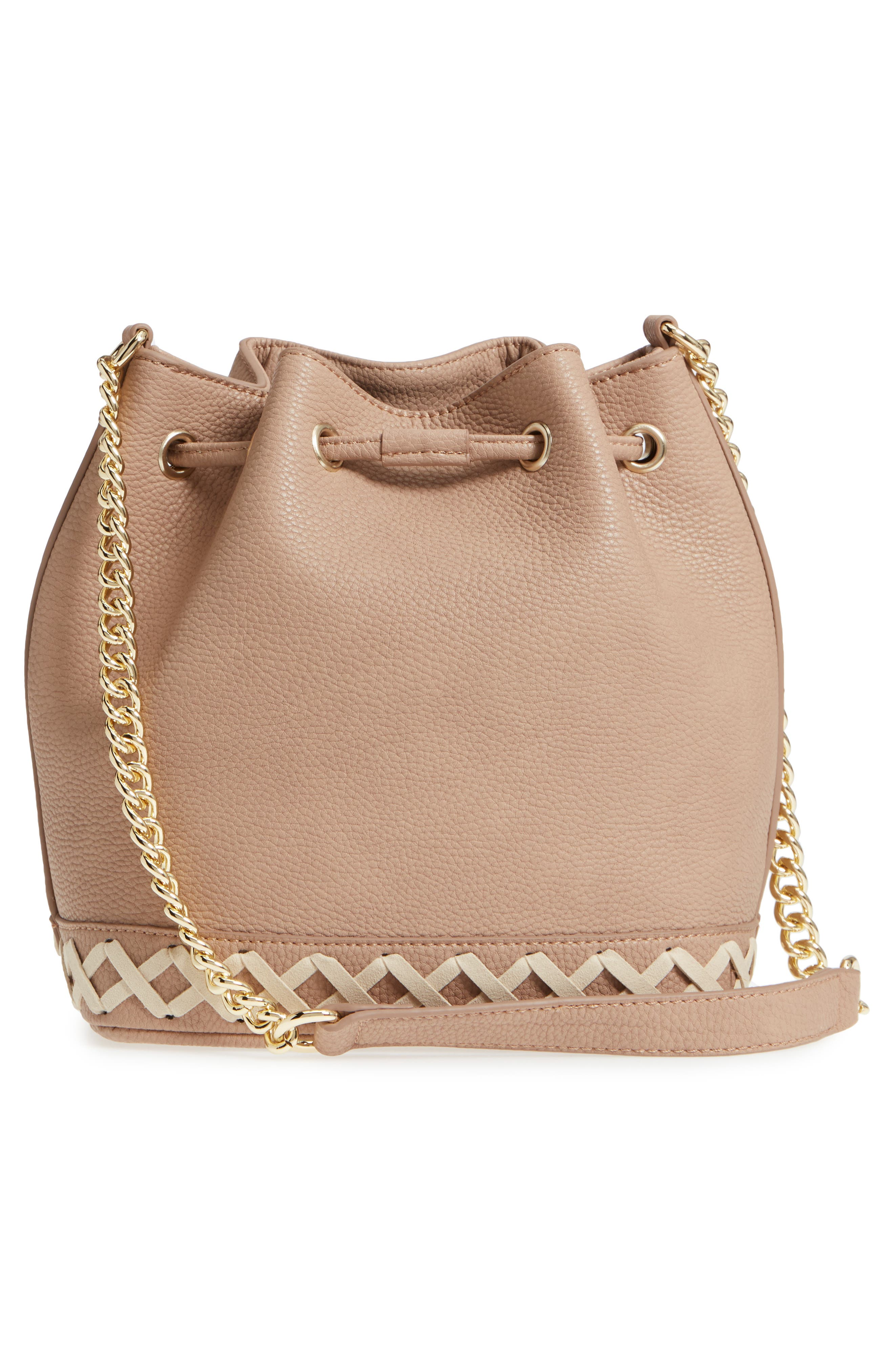 Veronica Faux Leather Bucket Bag,                             Alternate thumbnail 5, color,