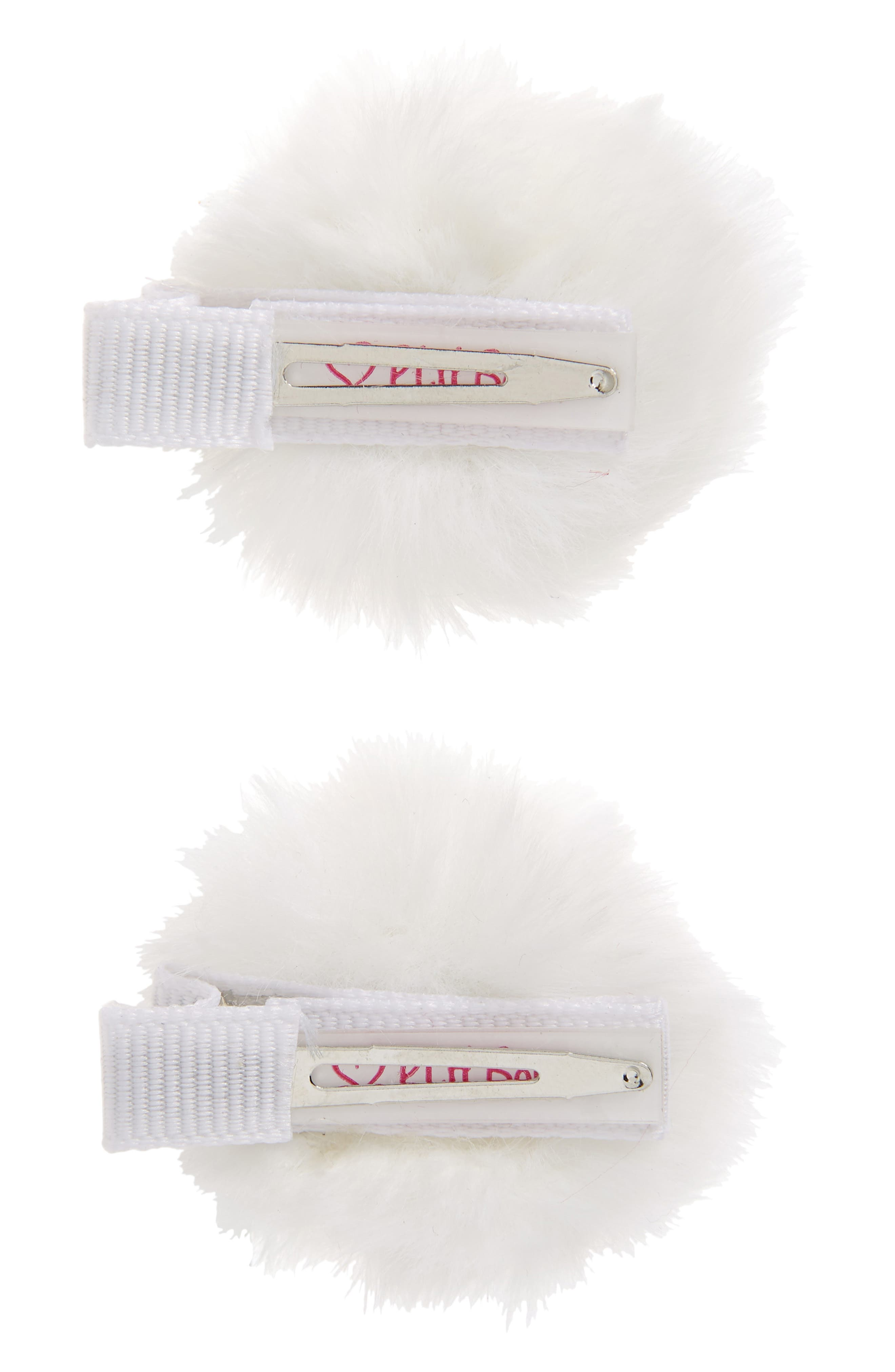 2-Pack Faux Furball Hair Clips,                             Alternate thumbnail 3, color,                             WHITE