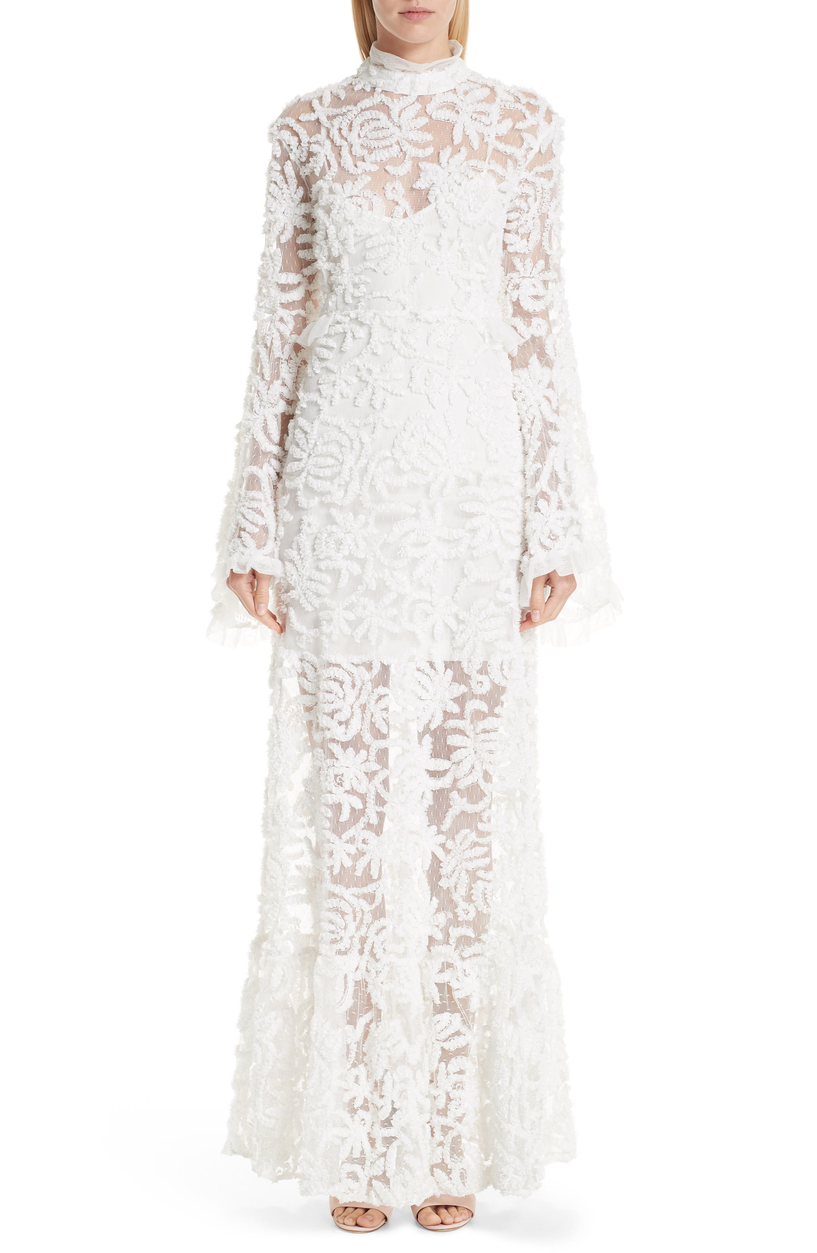 Vintage Inspired Wedding Dress | Vintage Style Wedding Dresses Womens Malene Oddershede Bach Lace Bell Sleeve Evening Dress $1,585.00 AT vintagedancer.com