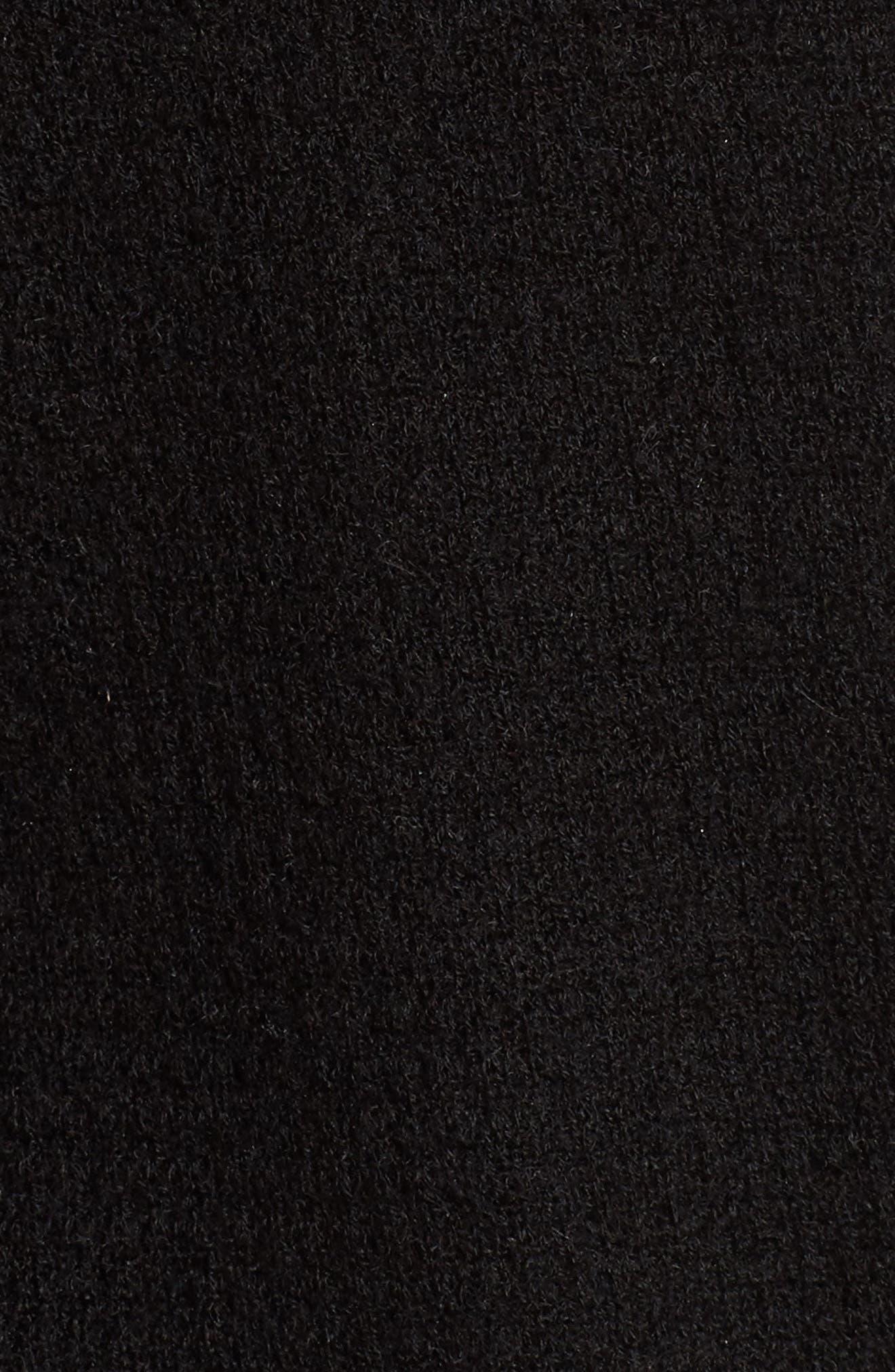 Waffle Stitch Cashmere Cardigan,                             Alternate thumbnail 5, color,                             001