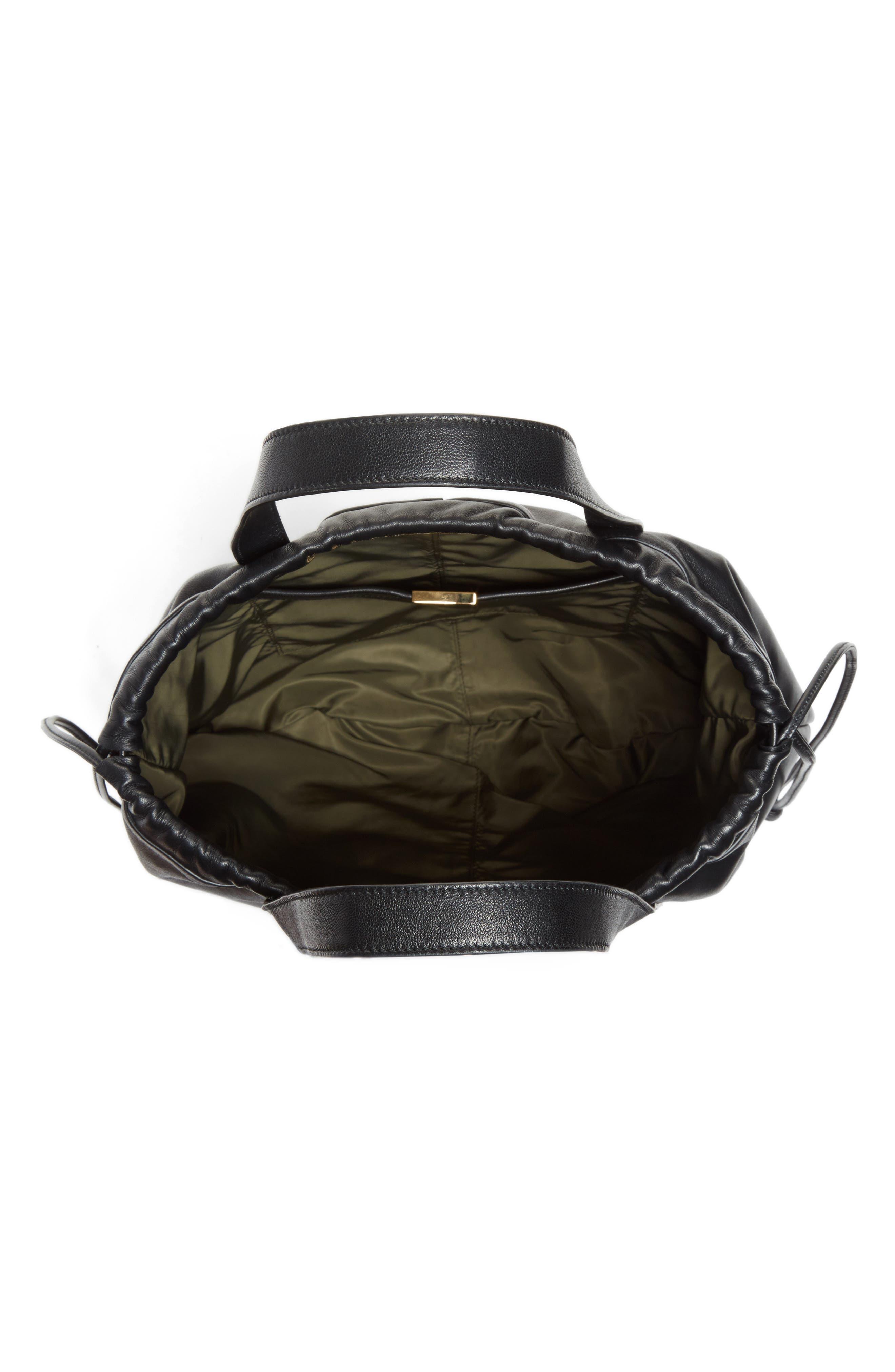 Helmet Lambskin Bucket Bag,                             Alternate thumbnail 3, color,                             BLACK