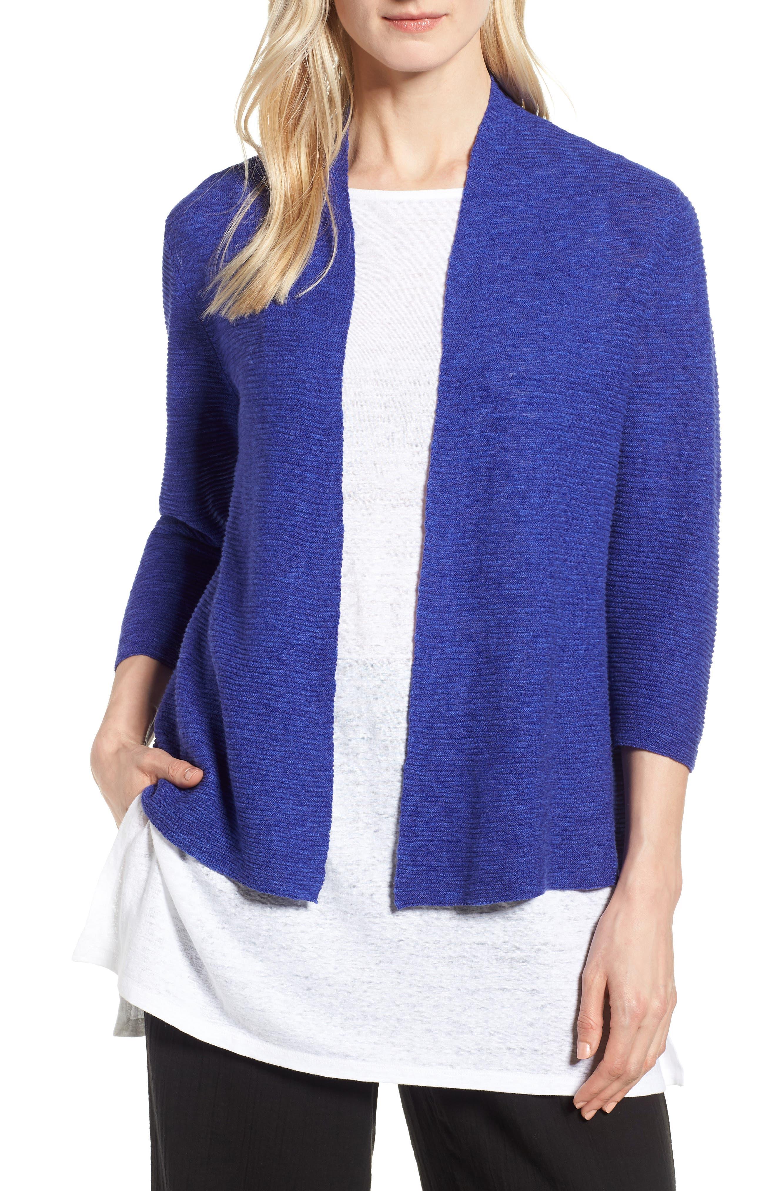 Simple Organic Linen & Cotton Cardigan,                             Main thumbnail 2, color,