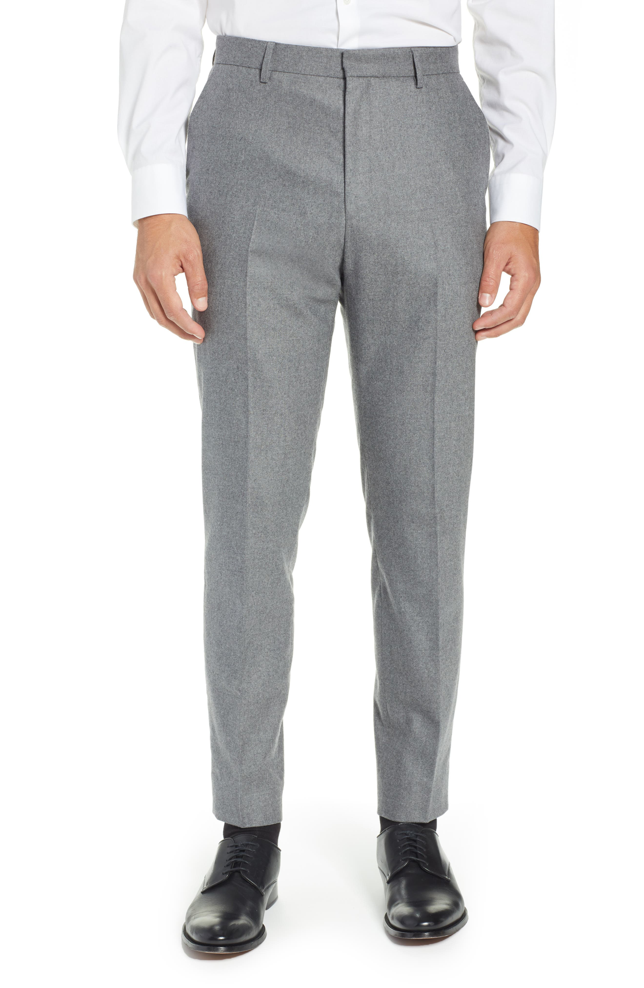 Pirko Flat Front Solid Stretch Wool Trousers,                             Main thumbnail 1, color,                             MEDIUM GREY