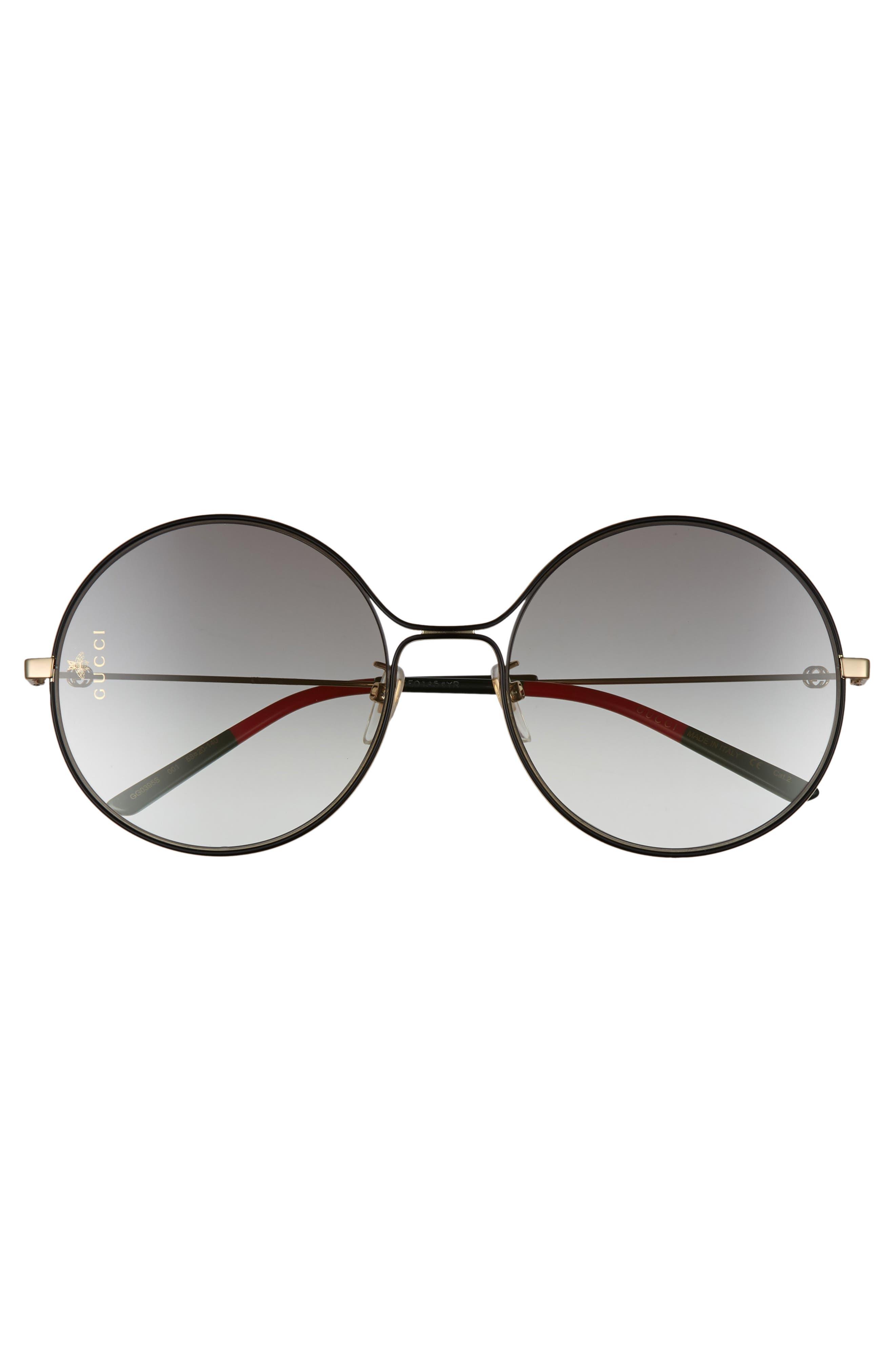 58mm Round Sunglasses,                             Alternate thumbnail 3, color,                             GOLD/ BLACK/ GREY GRADIENT