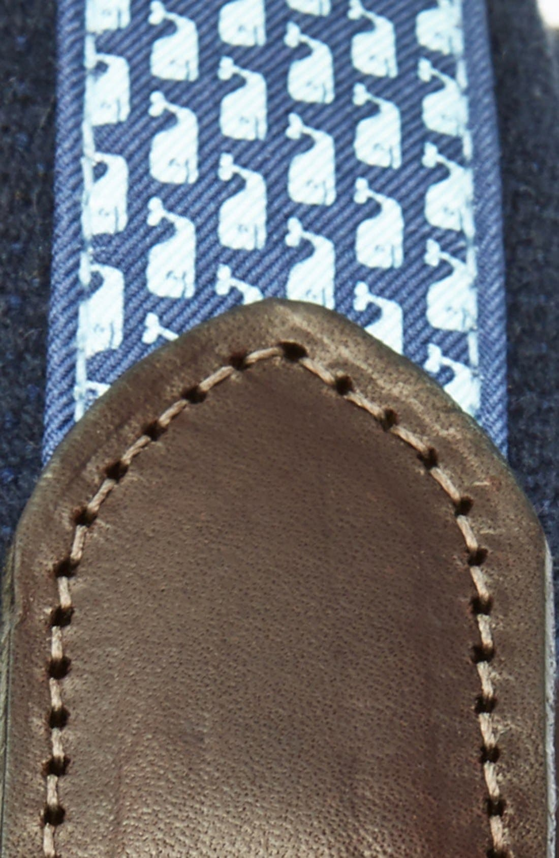 Whale Club Leather & Canvas Belt,                             Alternate thumbnail 2, color,                             NAVY