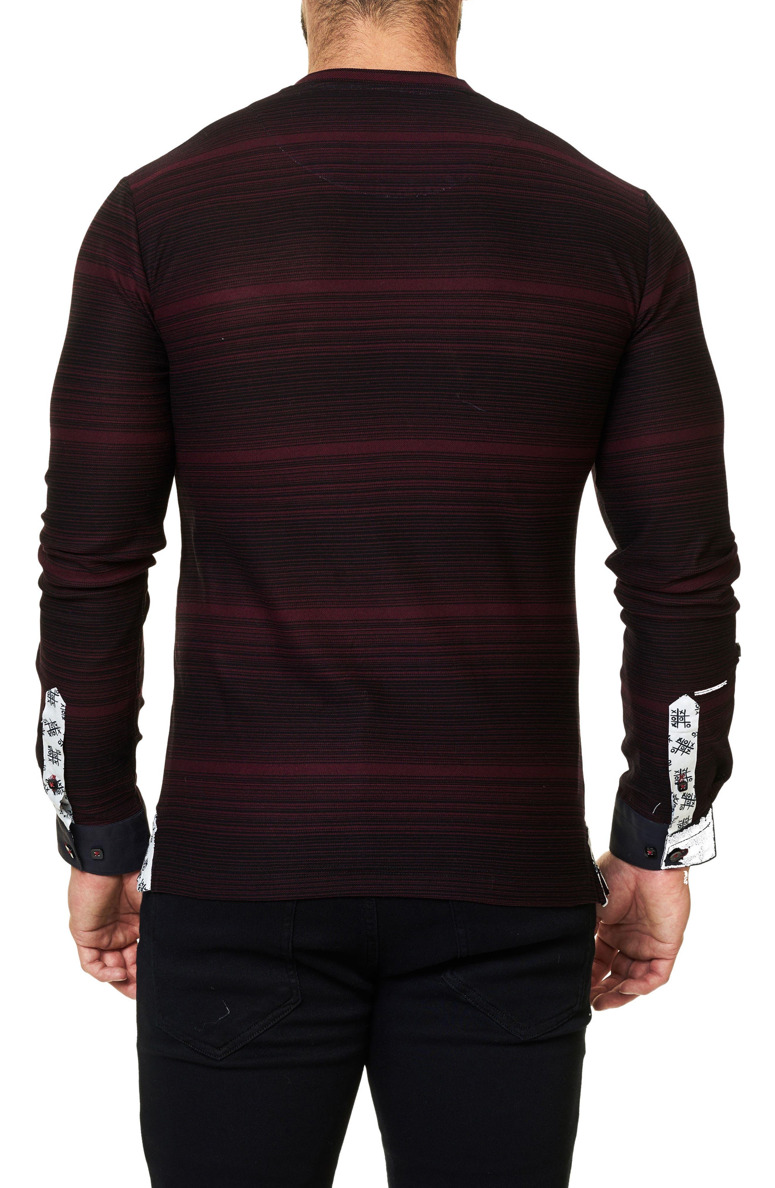 Stripe Long Sleeve V-Neck,                             Alternate thumbnail 2, color,                             002