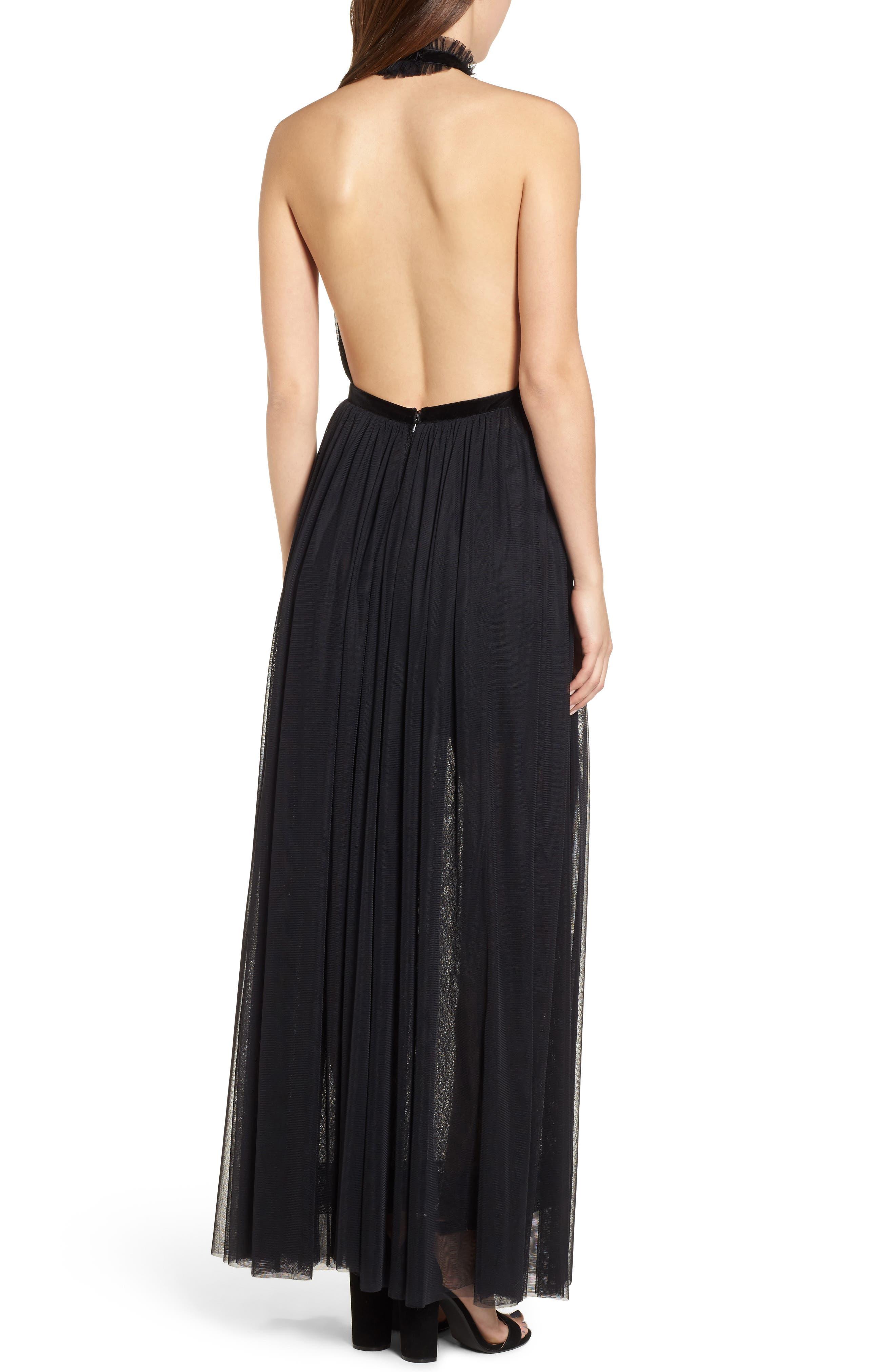 Taylor Halter Maxi Dress,                             Alternate thumbnail 2, color,                             001