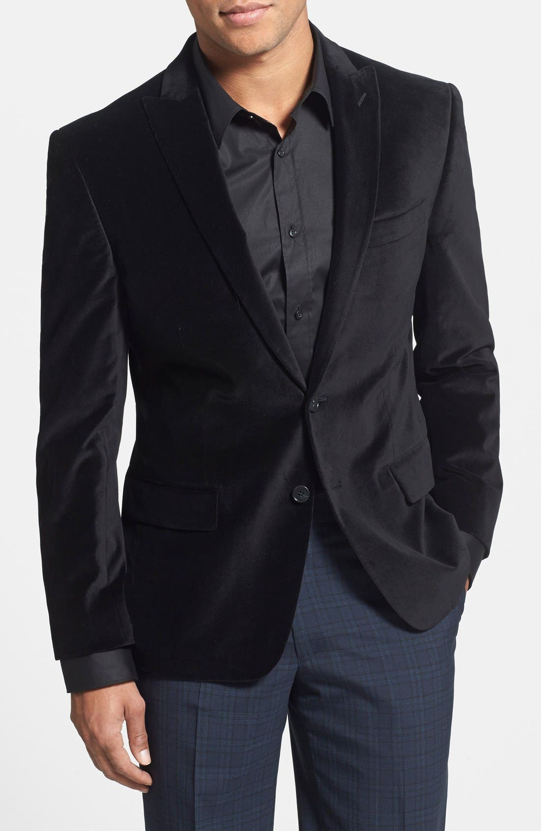 JOHN VARVATOS STAR USA Black Velvet Blazer, Main, color, 001