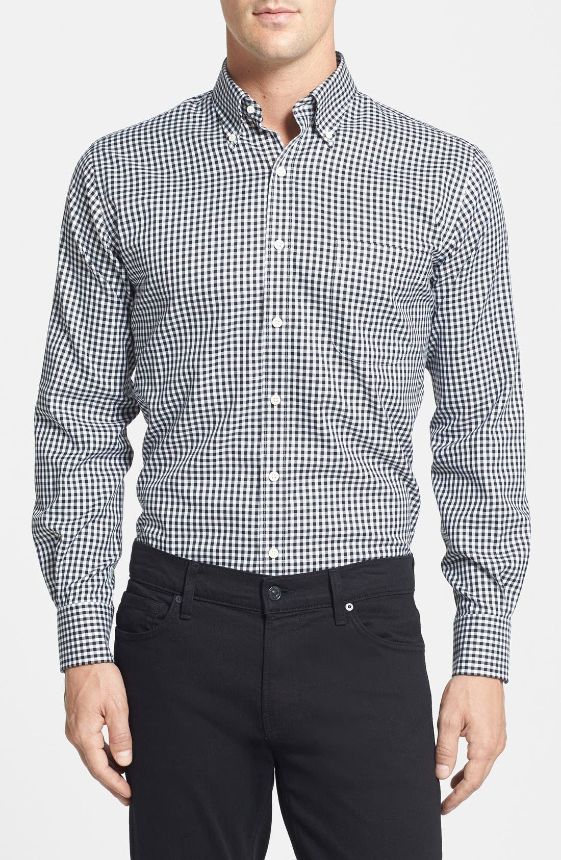 'Nanoluxe' Regular Fit Wrinkle Resistant Twill Check Sport Shirt,                         Main,                         color, 001
