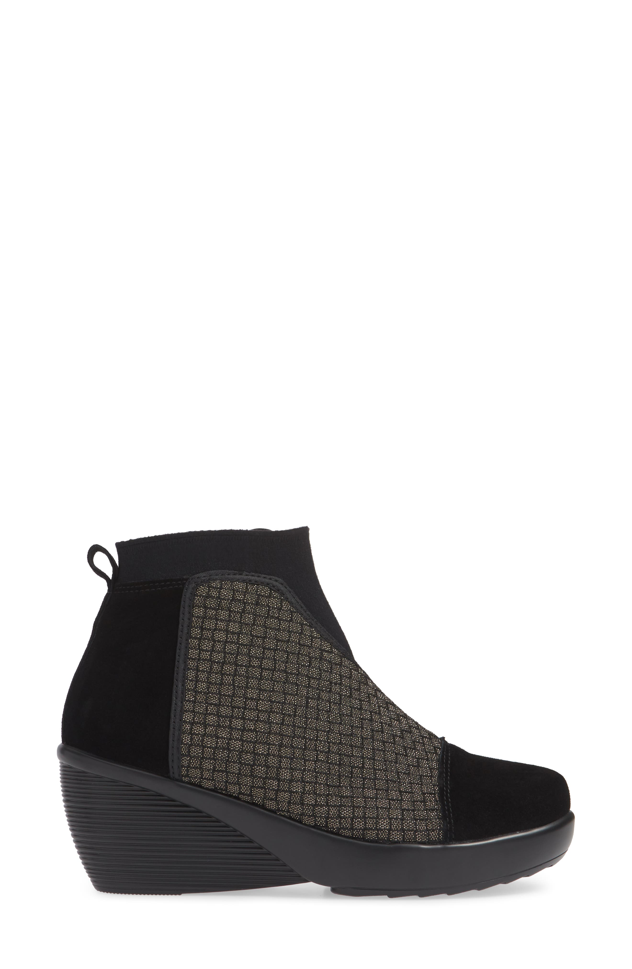 Zoe Wedge Bootie,                             Alternate thumbnail 3, color,                             GOLD BLACK SHIMMER LEATHER