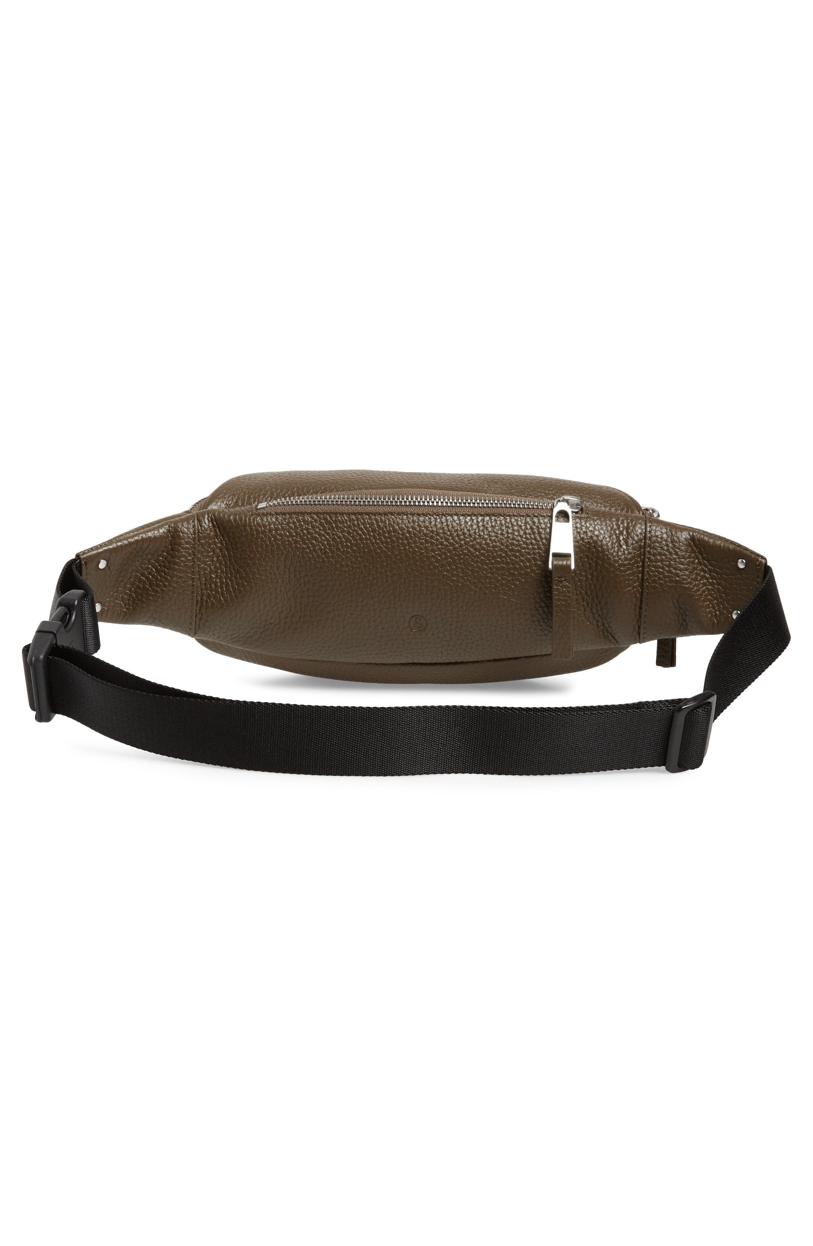 Mason Pebbled Leather Belt Bag,                             Alternate thumbnail 4, color,                             OLIVE GROVE