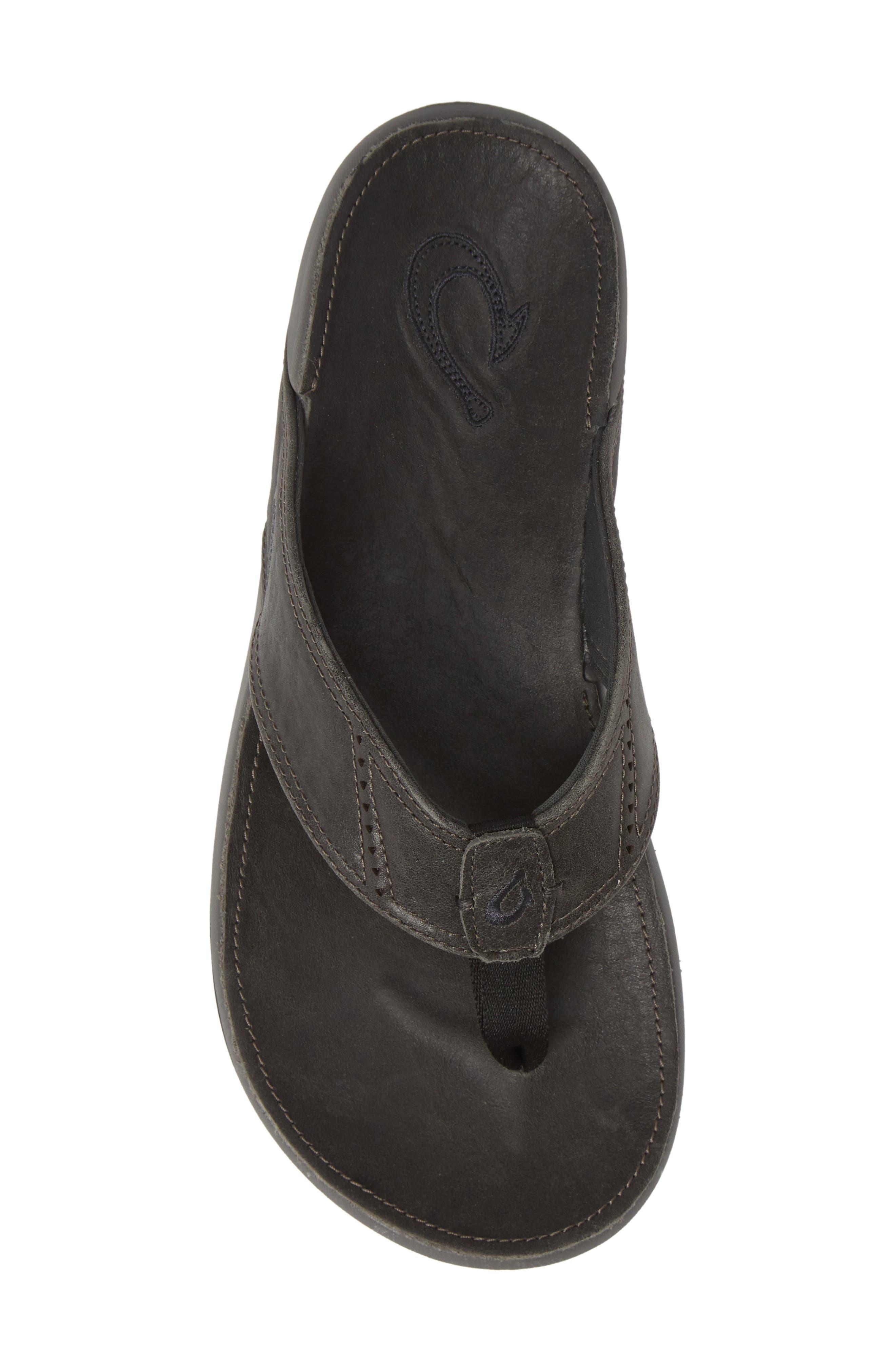 OLUKAI,                             'Nui' Leather Flip Flop,                             Alternate thumbnail 5, color,                             LAVA ROCK LEATHER
