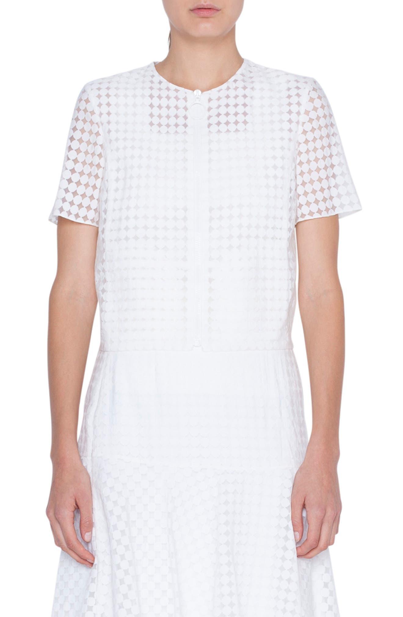 Dot Design Short Sleeve Jacket, Main, color, CREMA