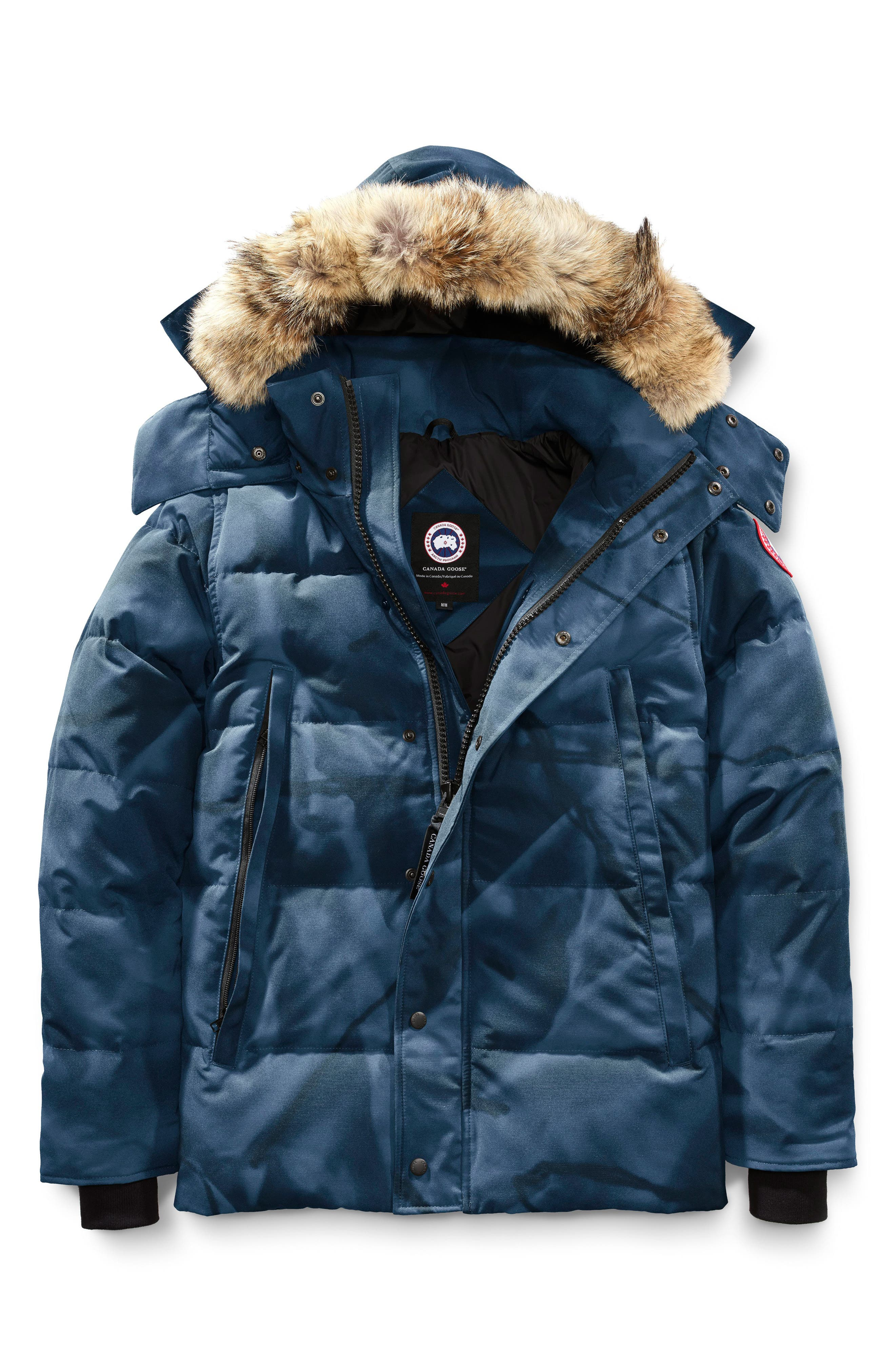 Wyndham Slim Fit Genuine Coyote Fur Trim Down Jacket,                             Alternate thumbnail 4, color,                             BLUE ABSTRACT CAMO