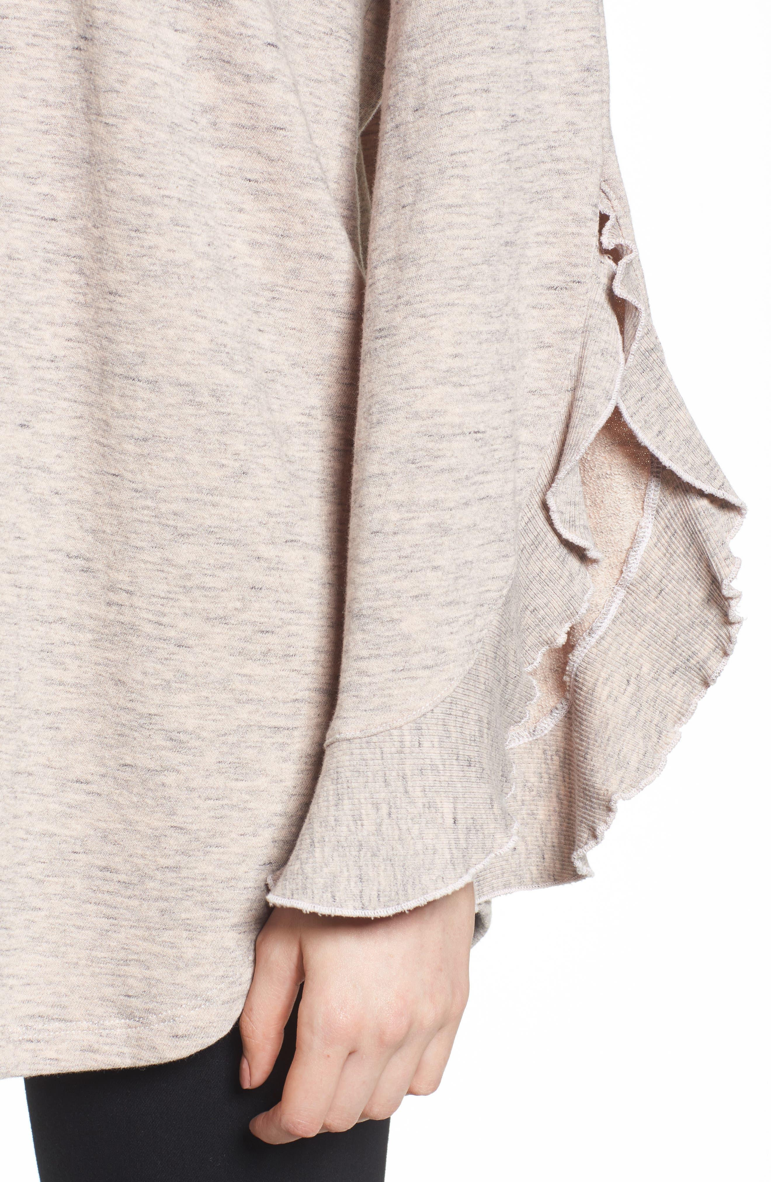 Ruffle Split Sleeve Cotton Sweatshirt,                             Alternate thumbnail 8, color,