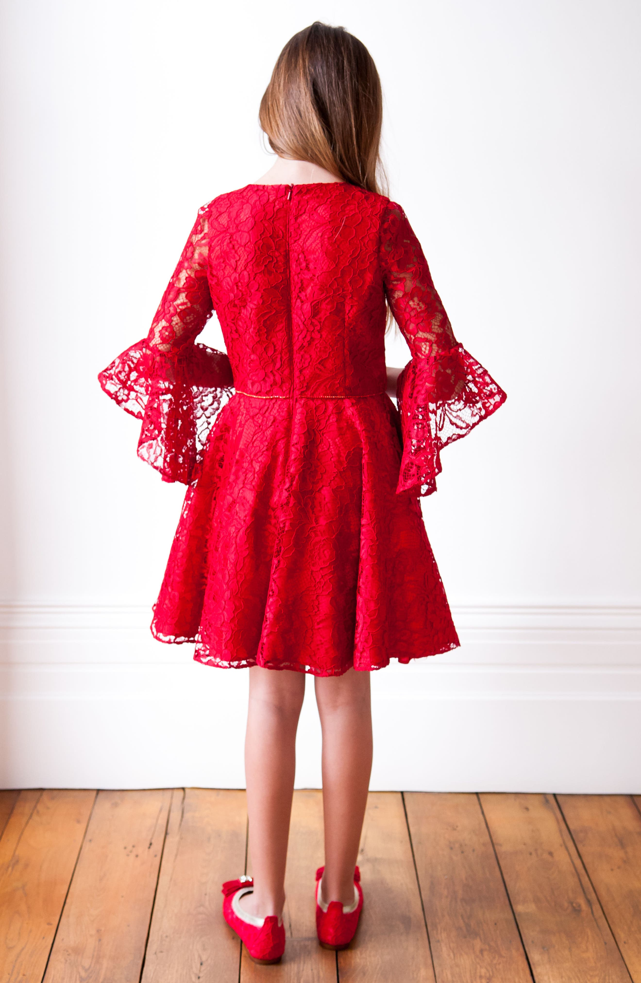 Bell Sleeve Lace Dress,                             Alternate thumbnail 5, color,