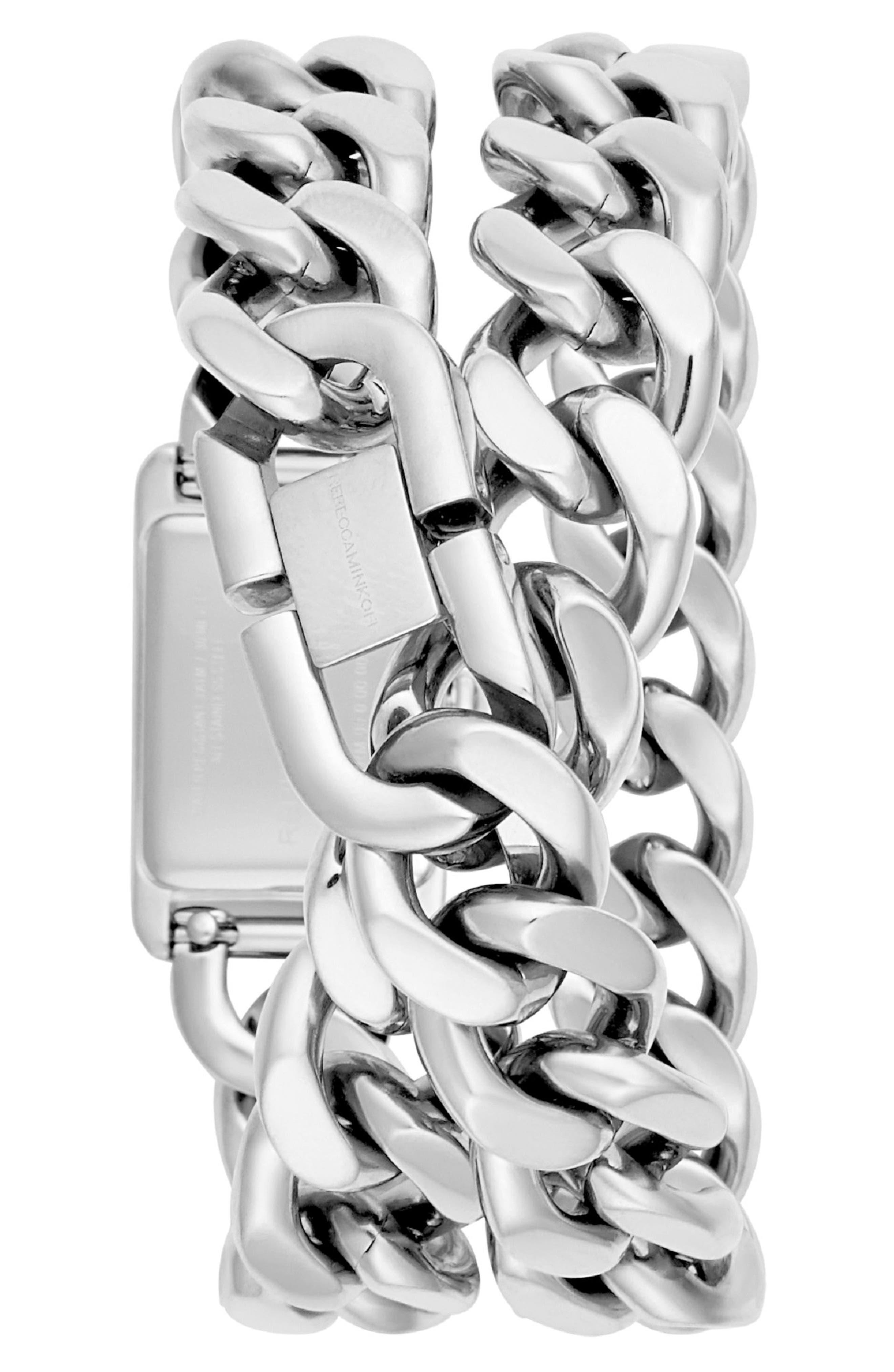 REBECCA MINKOFF,                             Moment Chain Wrap Bracelet Watch, 19mm x 30mm,                             Alternate thumbnail 2, color,                             SILVER