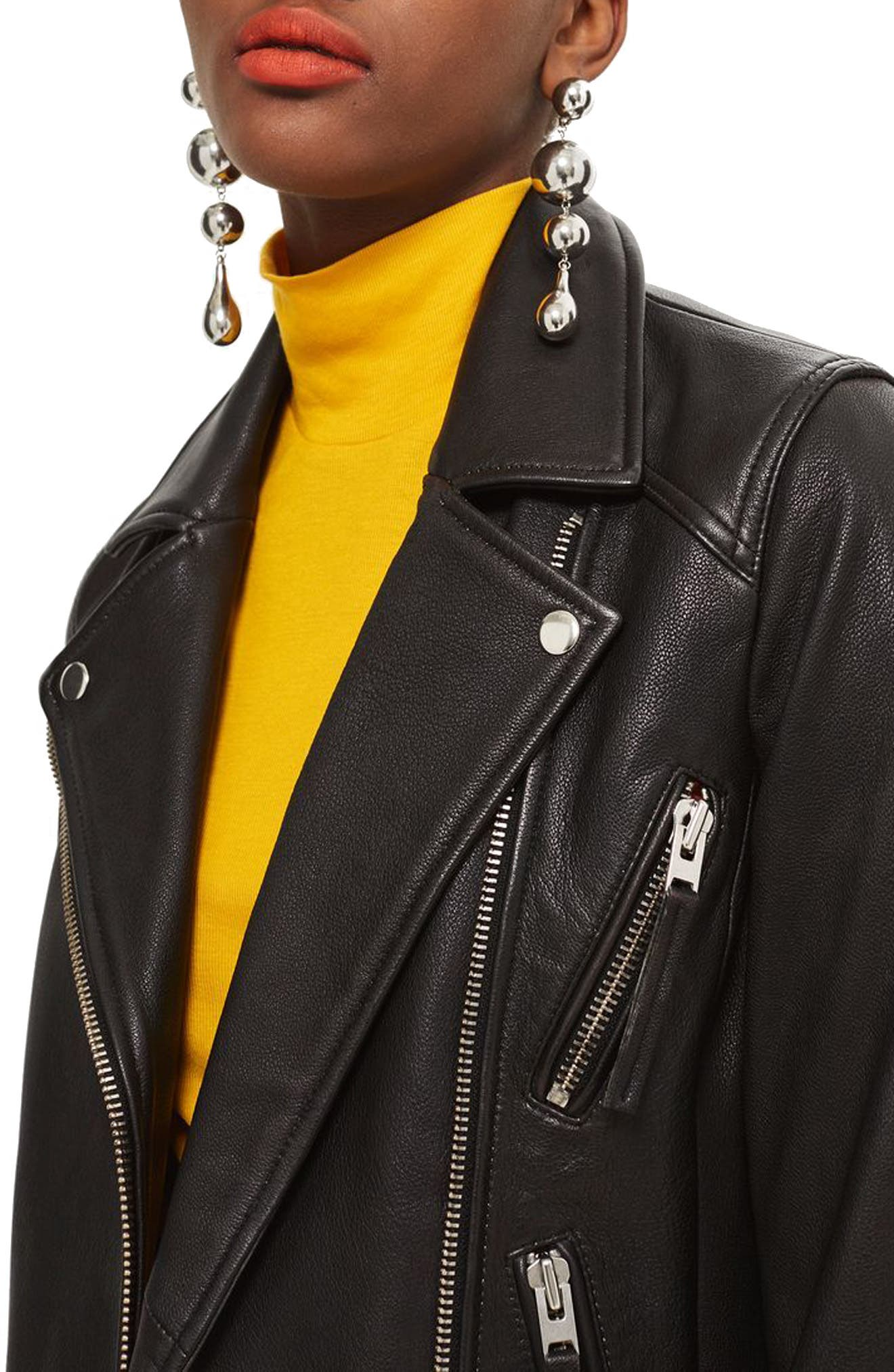TOPSHOP,                             Dolly Leather Biker Jacket,                             Alternate thumbnail 3, color,                             BLACK