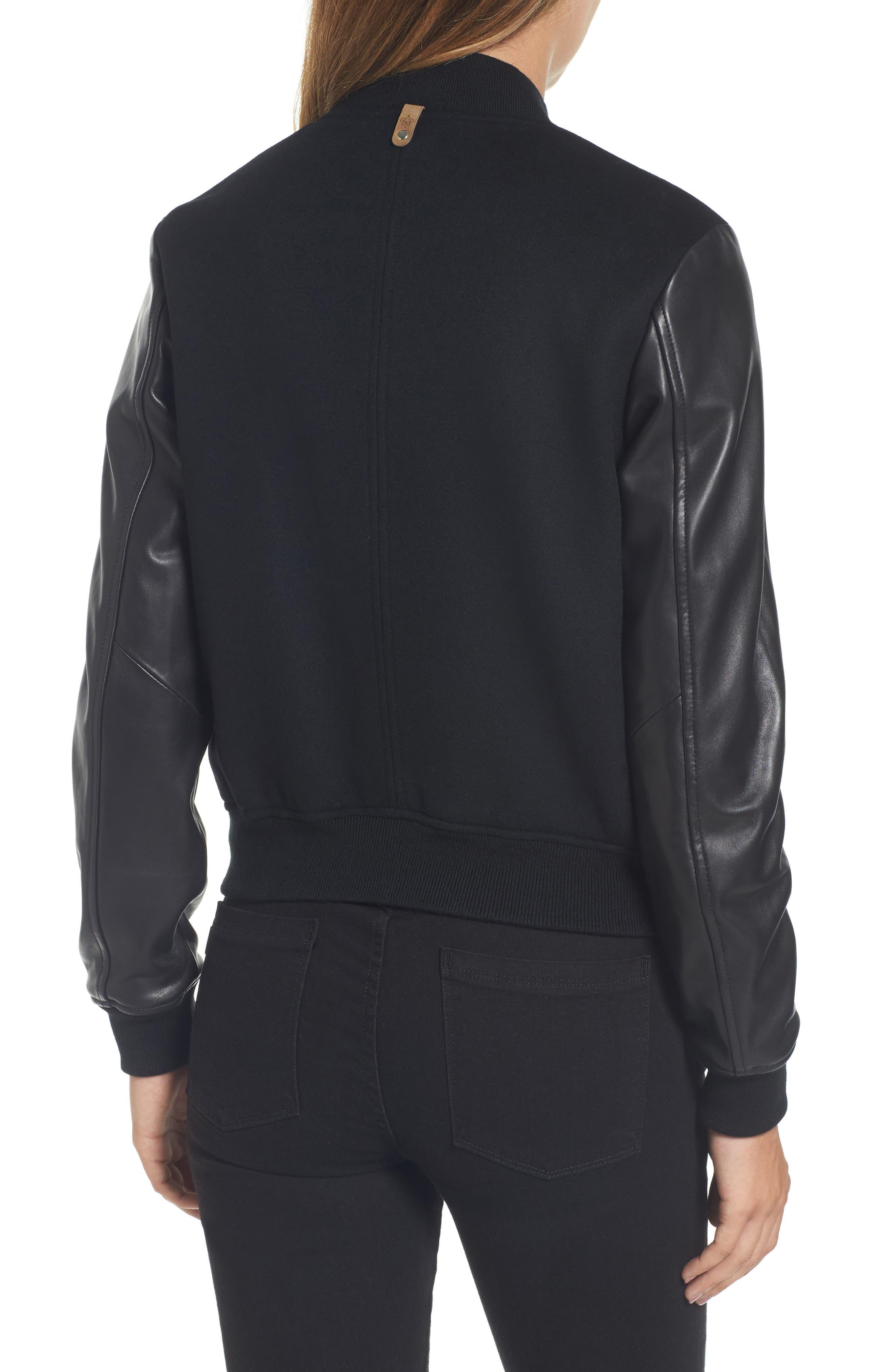 Leather Sleeve Varsity Jacket,                             Alternate thumbnail 2, color,                             001