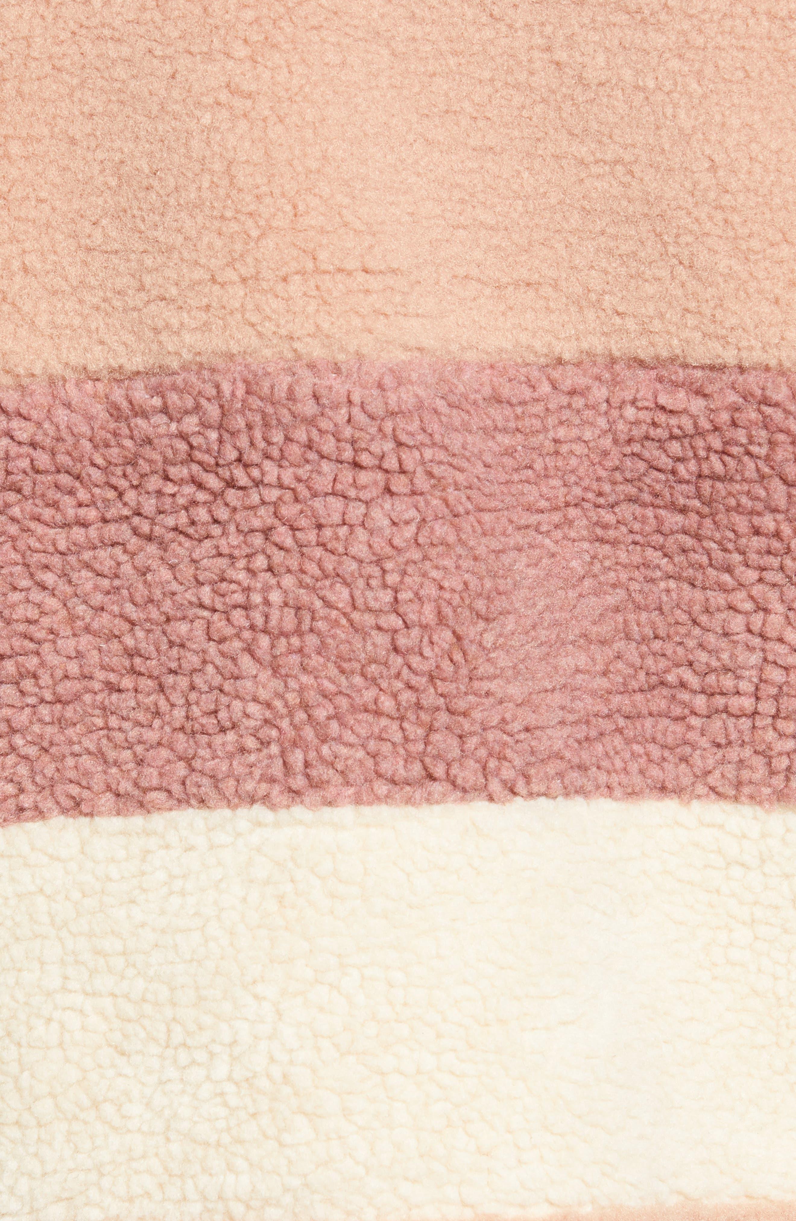 Stripe Faux Shearling Jacket,                             Alternate thumbnail 7, color,                             IVORY EGRET MUTLI STRIPE