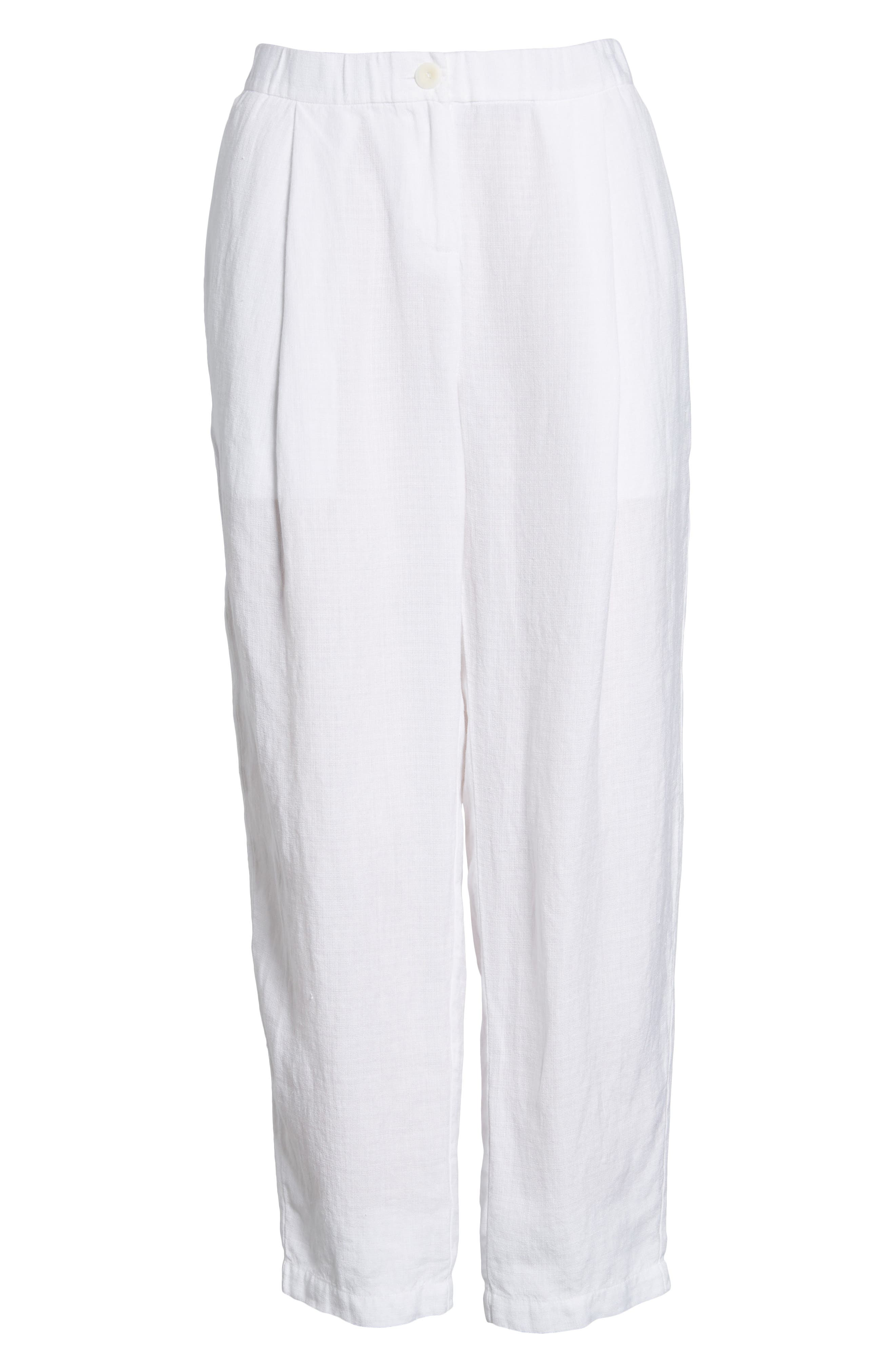 Pleated Linen Blend Ankle Trousers,                             Alternate thumbnail 13, color,