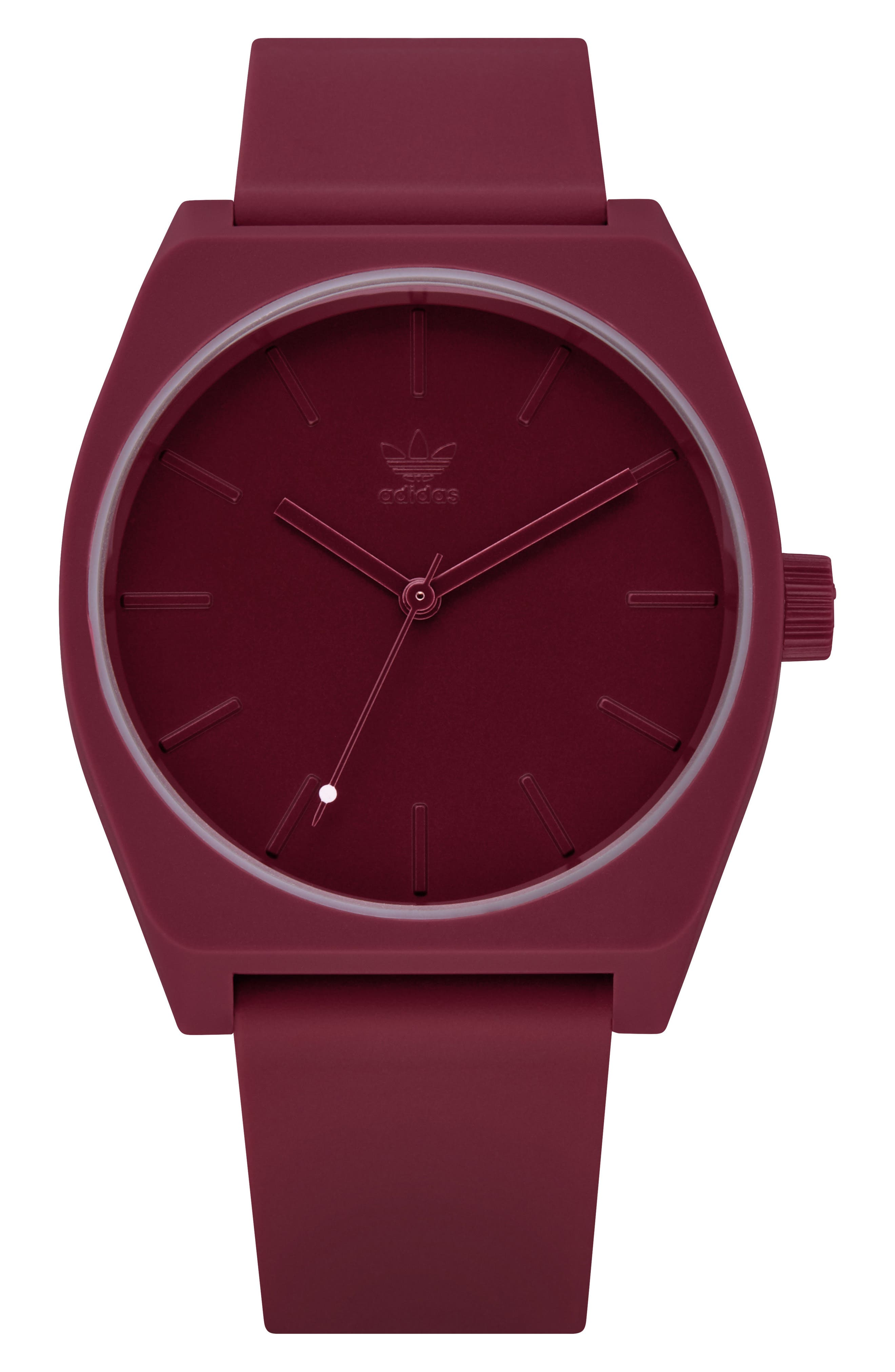 ADIDAS,                             Process Silicone Strap Watch, 38mm,                             Main thumbnail 1, color,                             BURGUNDY