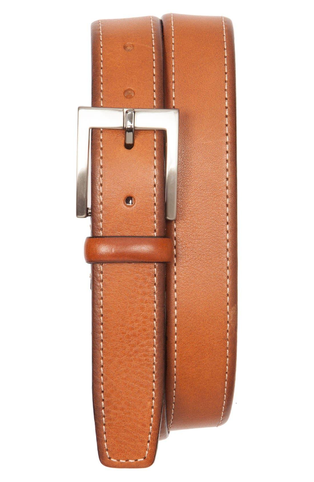 Contrast Stitch Leather Belt,                         Main,                         color, 251