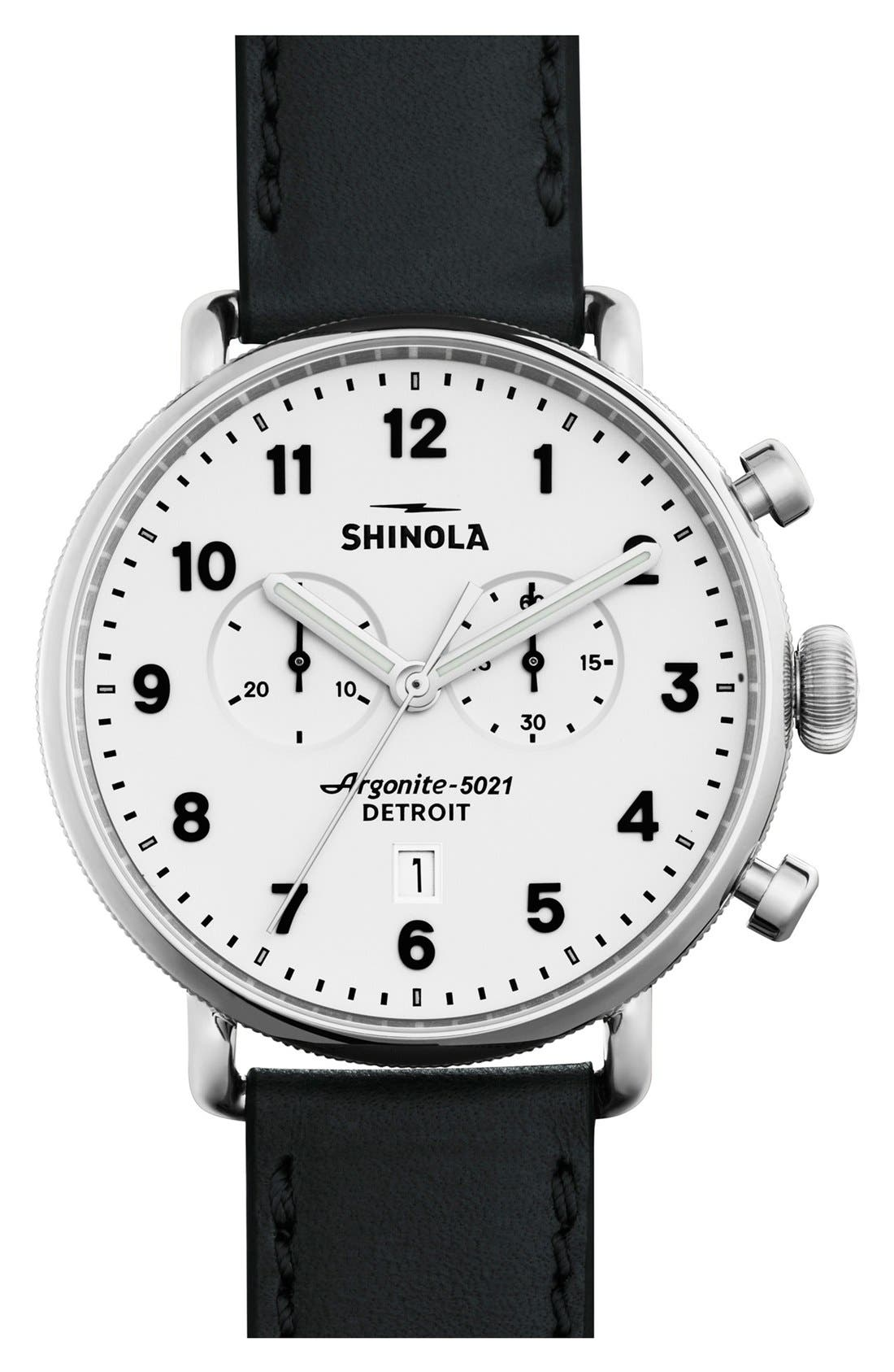 The Canfield Chrono Leather Strap Watch, 43mm,                             Main thumbnail 1, color,                             BLACK/ WHITE