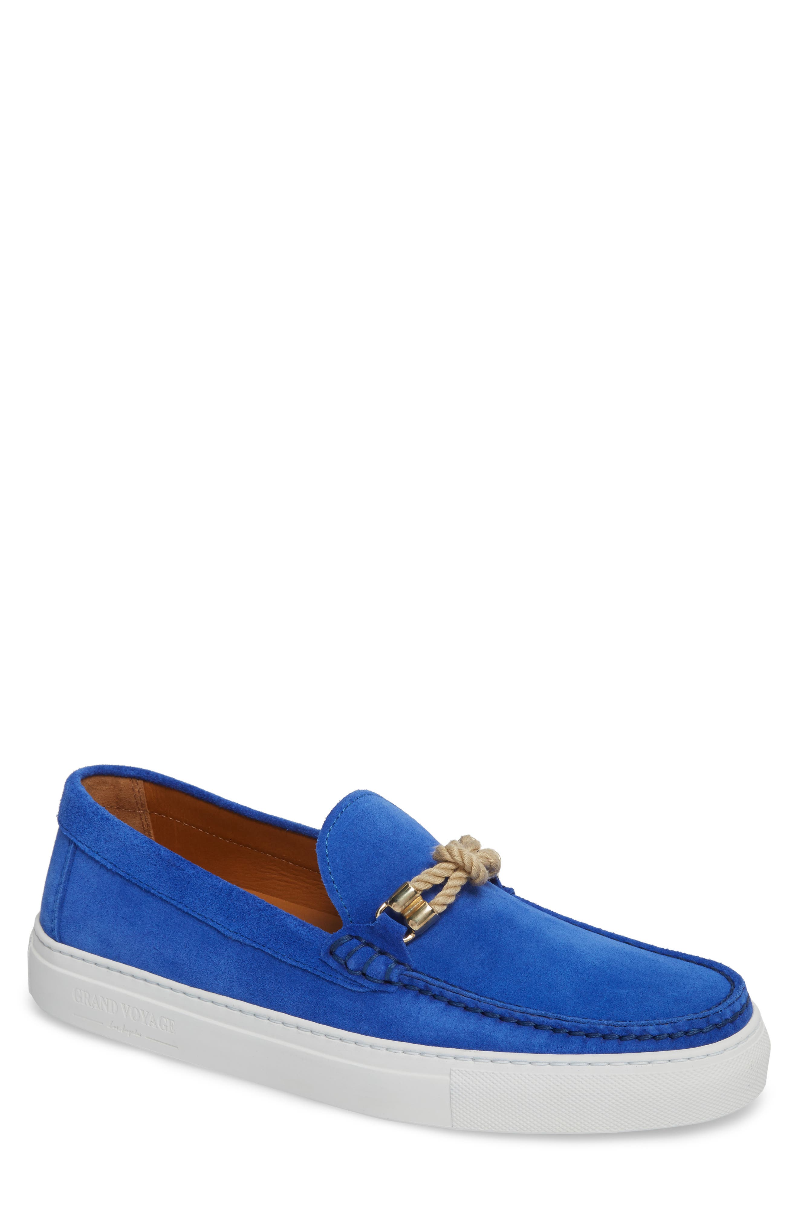 GRAND VOYAGE Britton Square Knot Loafer in Blue Suede