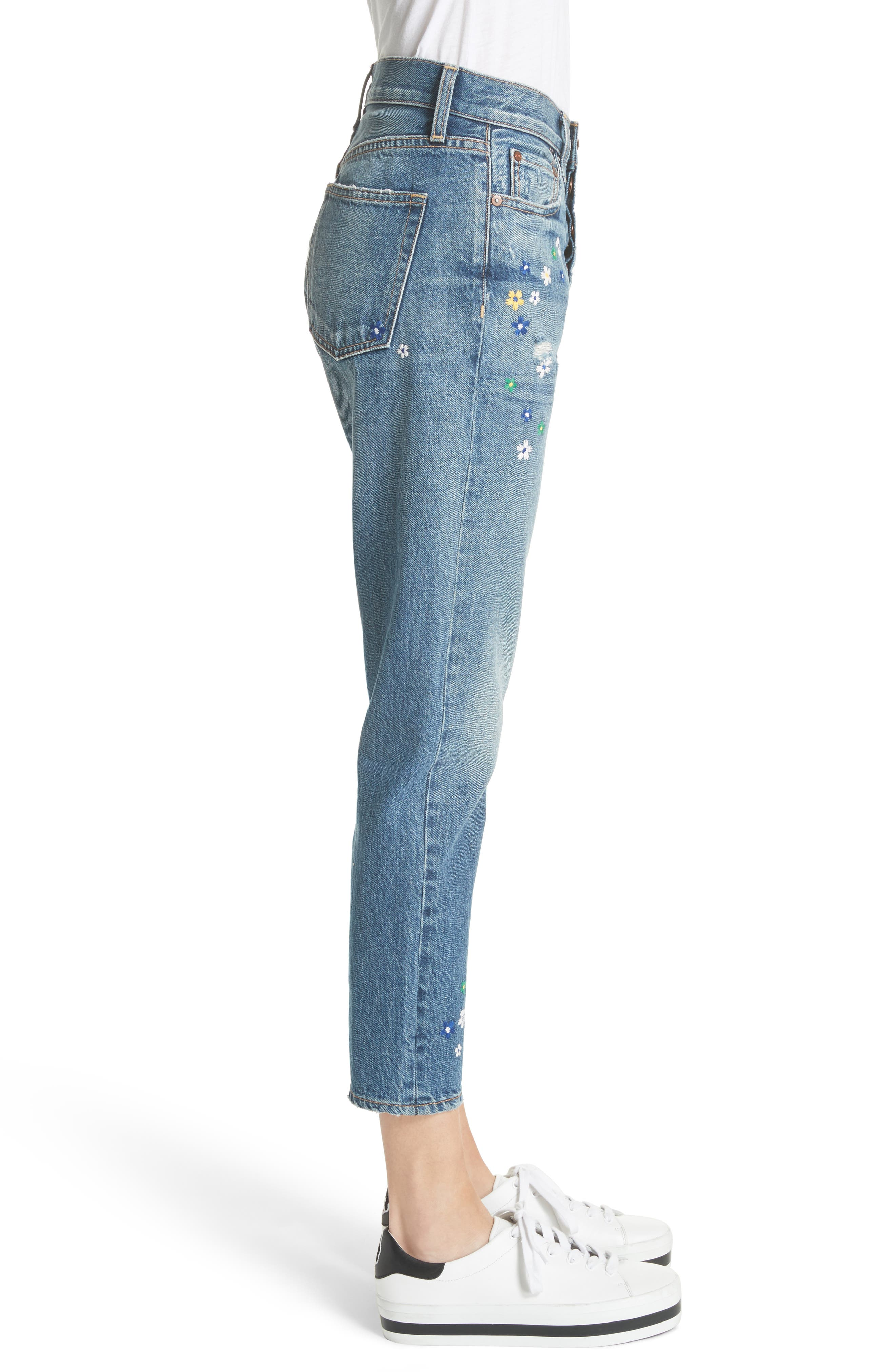 AO.LA Amazing Embroidered Slim Girlfriend Jeans,                             Alternate thumbnail 3, color,                             496