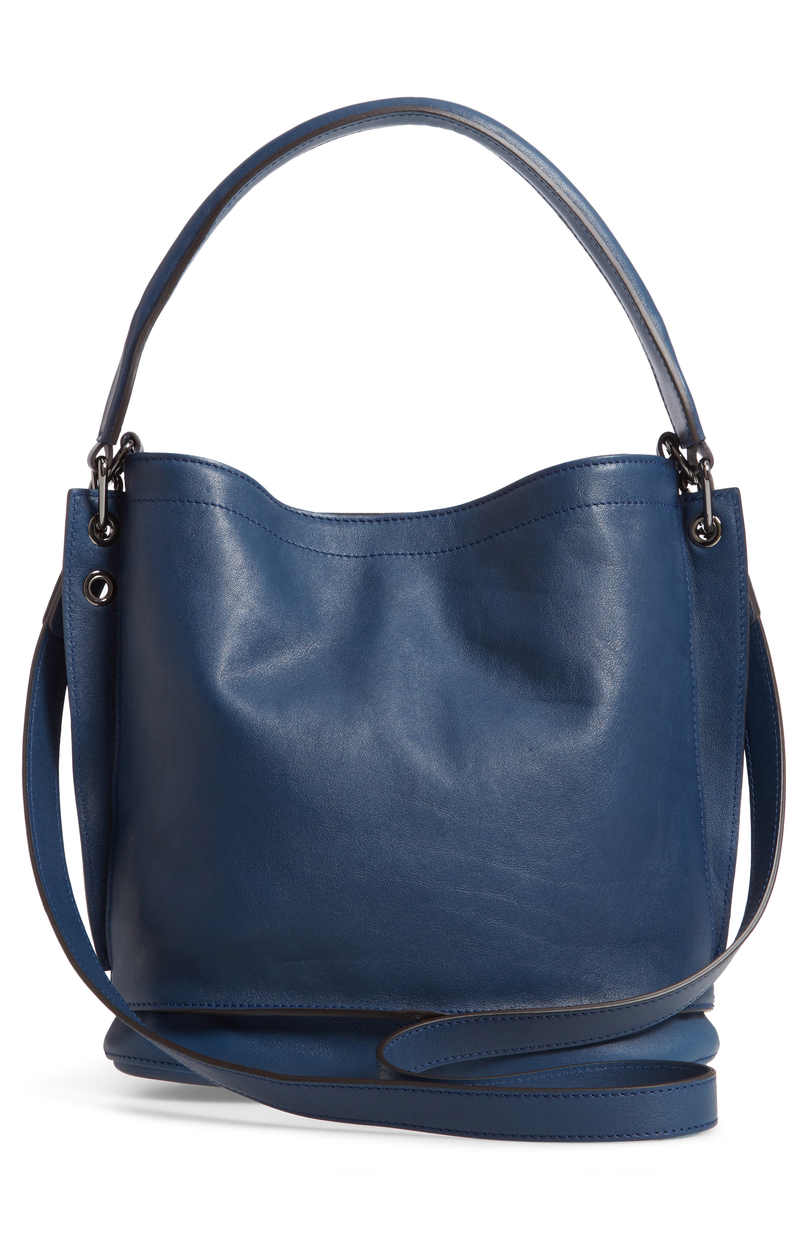3D Leather Bucket Bag,                             Alternate thumbnail 3, color,                             PILOT BLUE