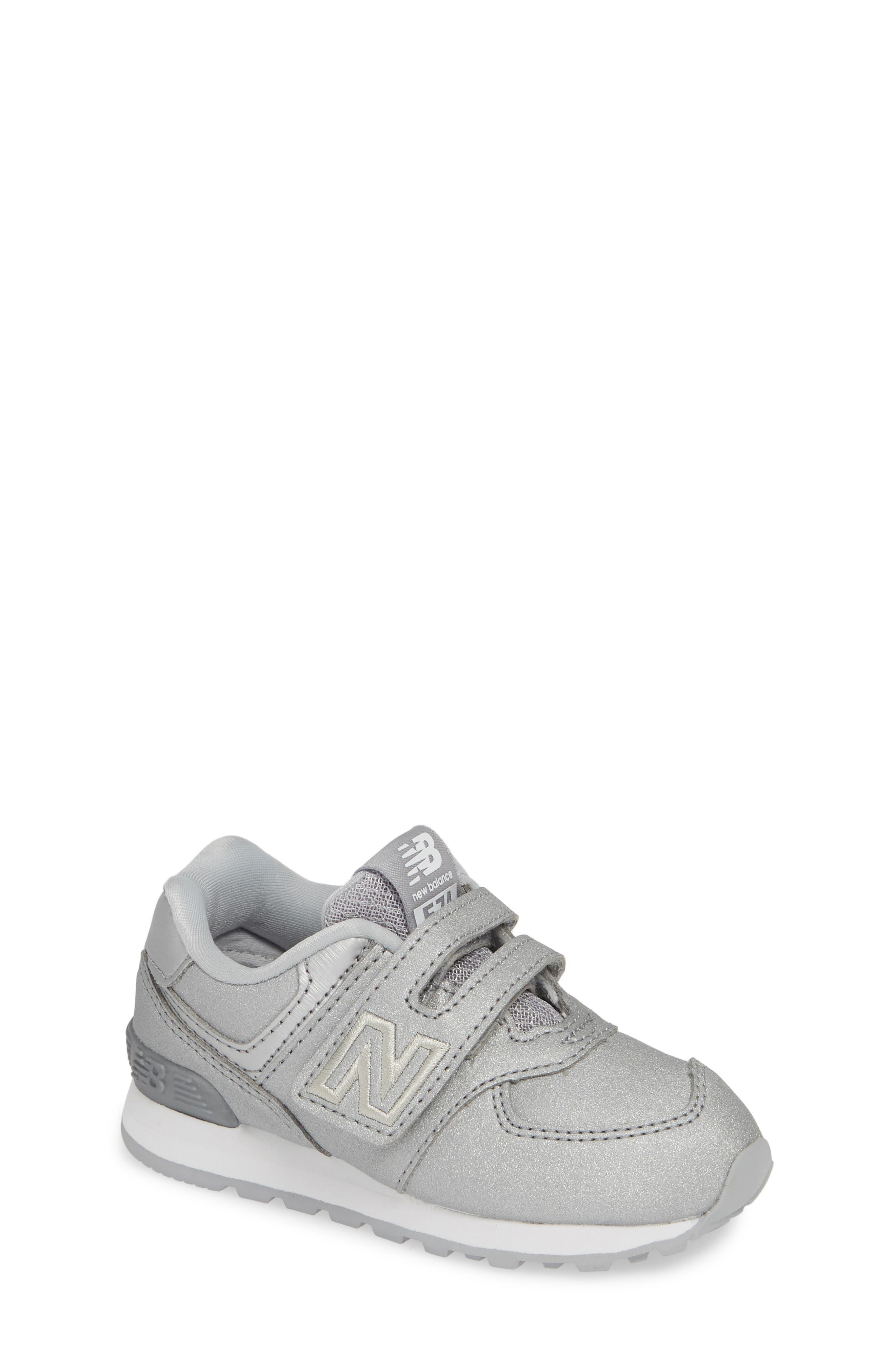 574 Essentials Glitter Sneaker,                             Main thumbnail 1, color,                             SILVER