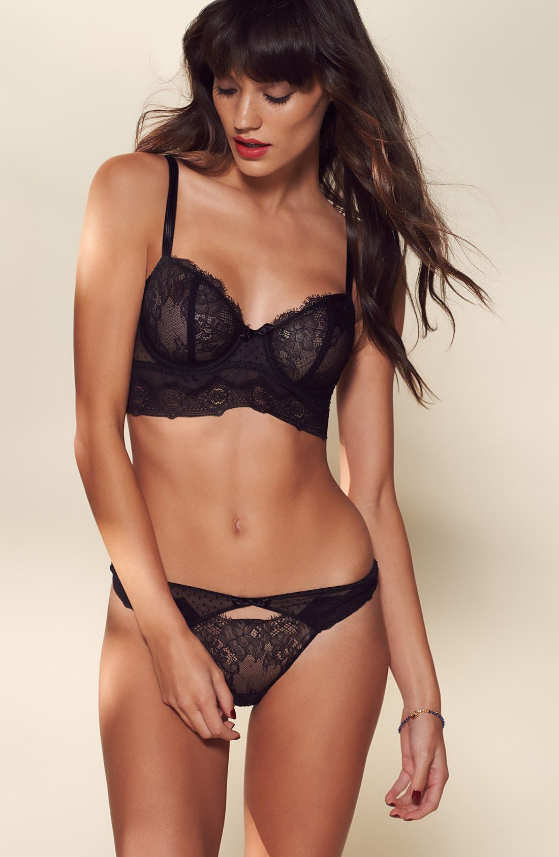 PASSIONATA BY CHANTELLE,                             Blossom Lace Keyhole Thong,                             Alternate thumbnail 6, color,                             001