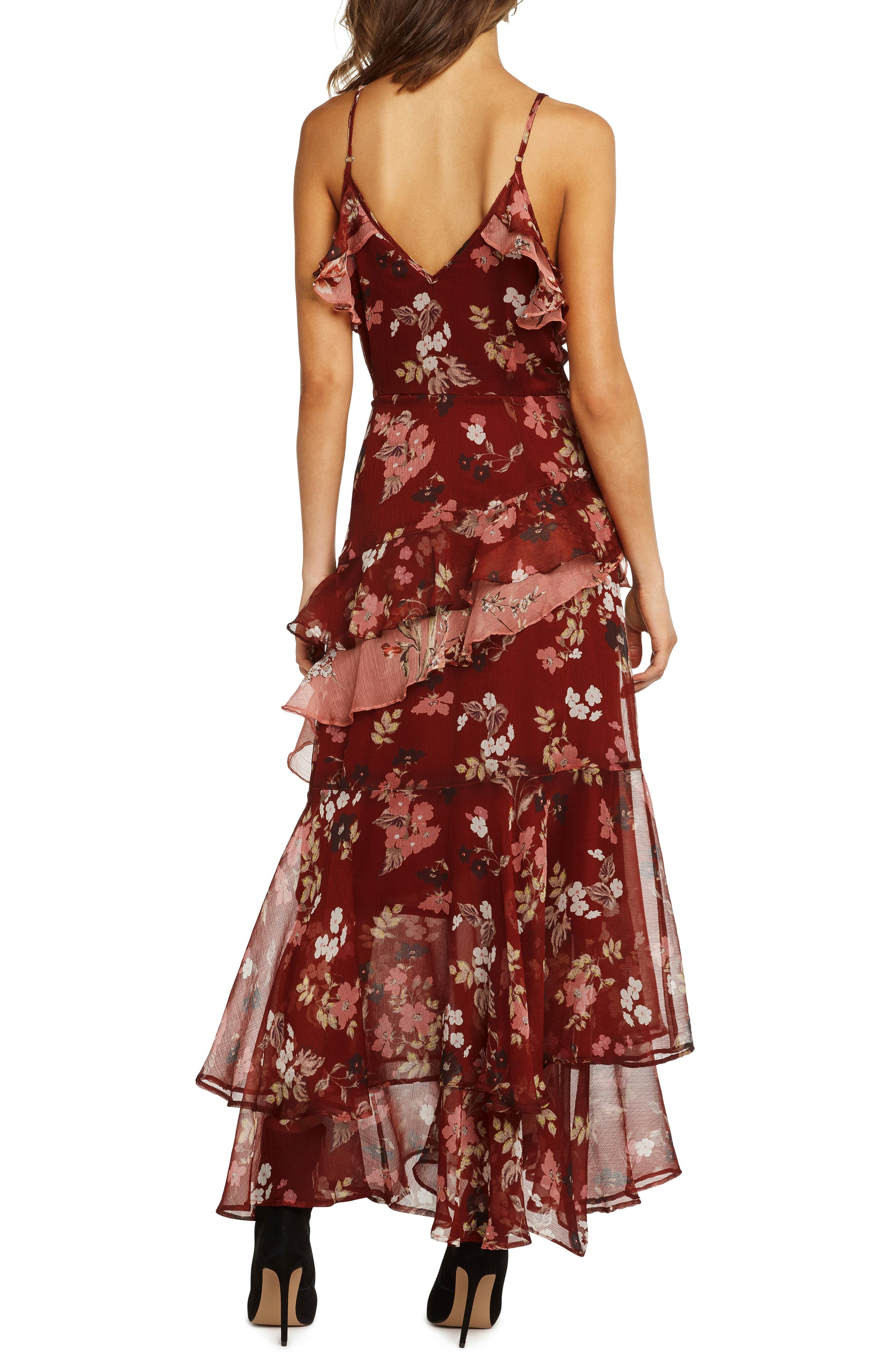 Tiered Ruffle Maxi Dress,                             Alternate thumbnail 3, color,                             RUST