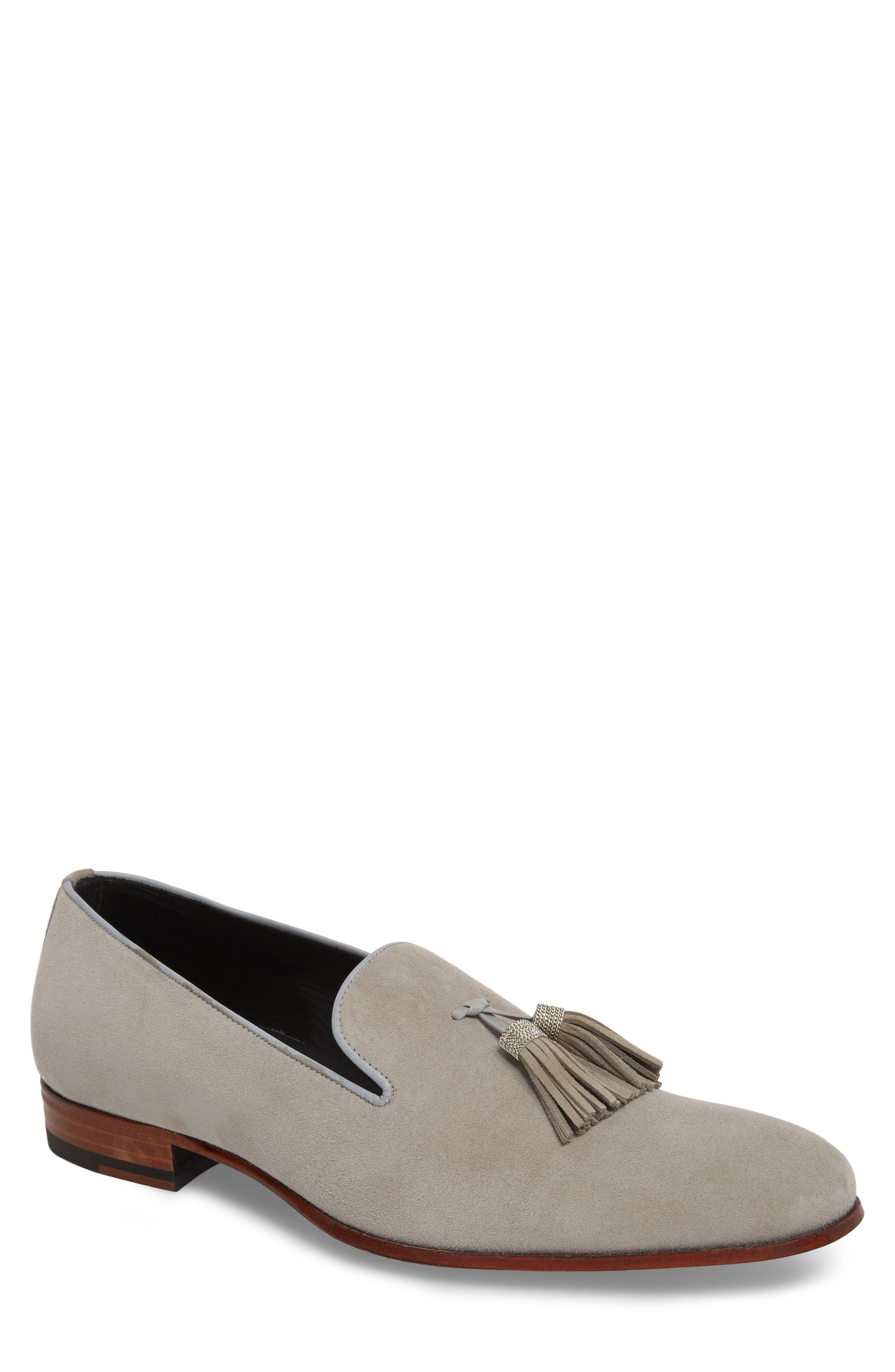 Picus Tassel Loafer,                             Main thumbnail 1, color,                             PEARL GREY SUEDE