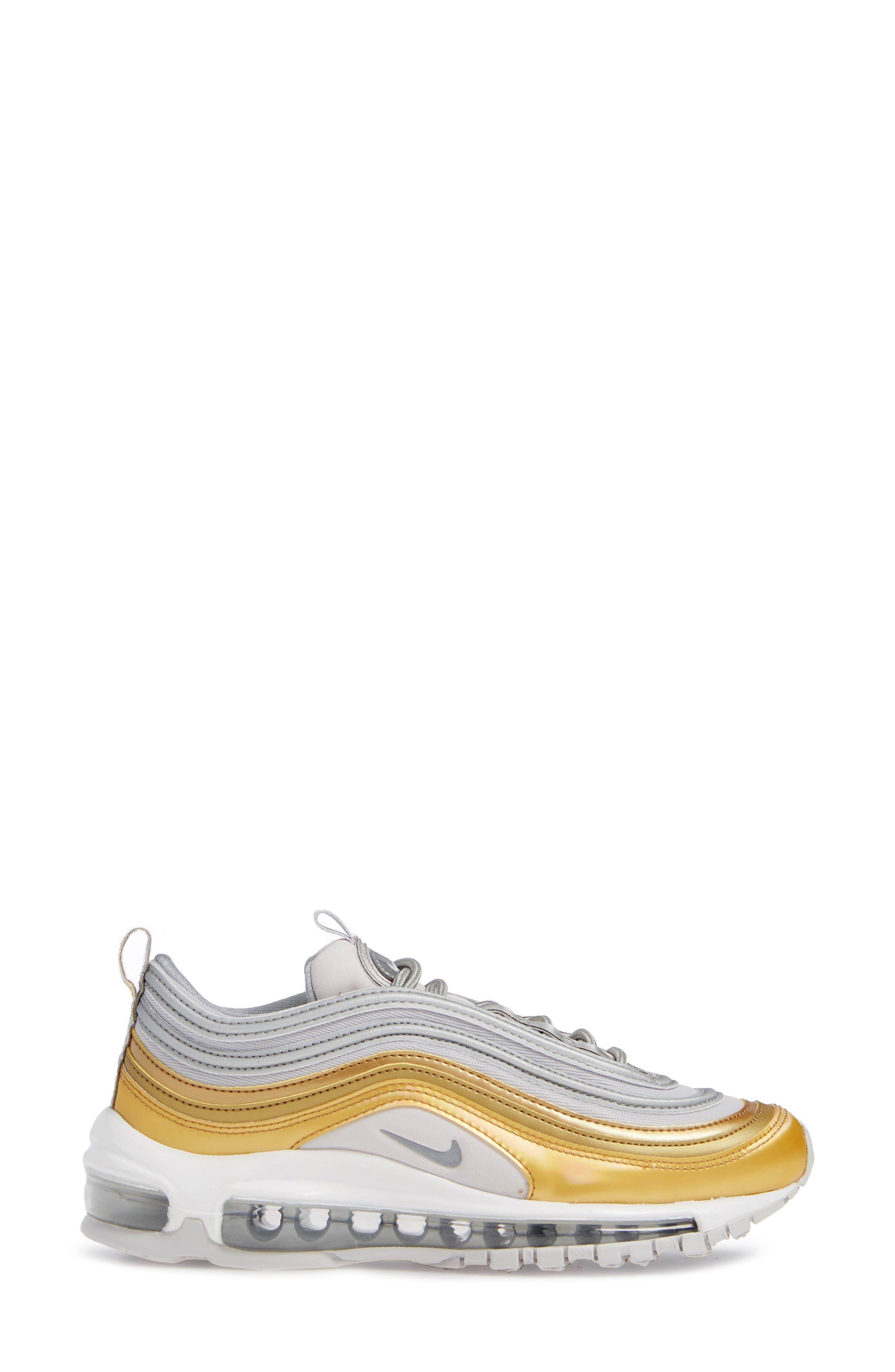 Air Max 97 SE Sneaker,                             Alternate thumbnail 3, color,                             GREY/ METALLIC SILVER- GOLD