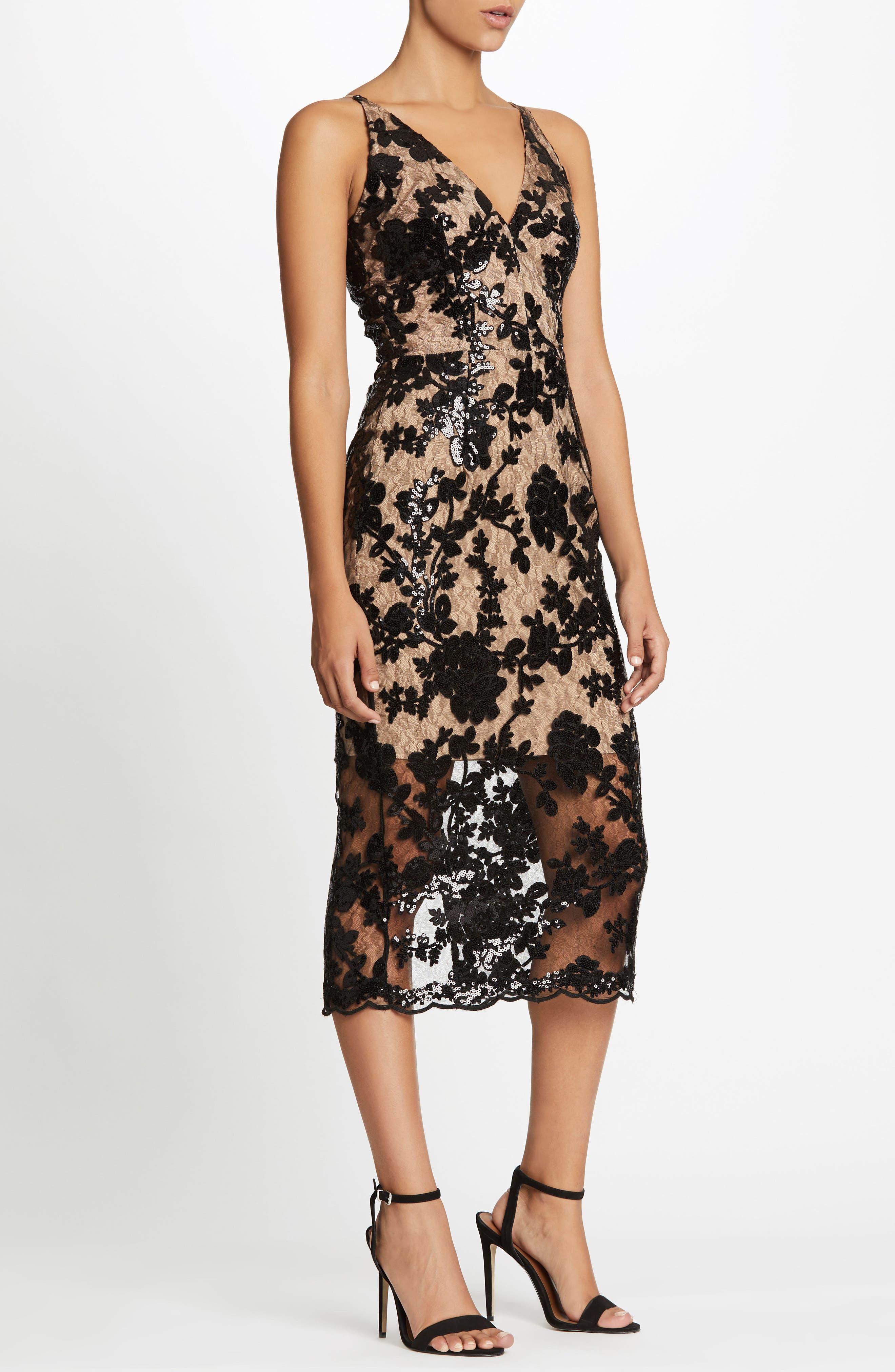 Rebecca Floral Lace Midi Dress,                             Alternate thumbnail 5, color,