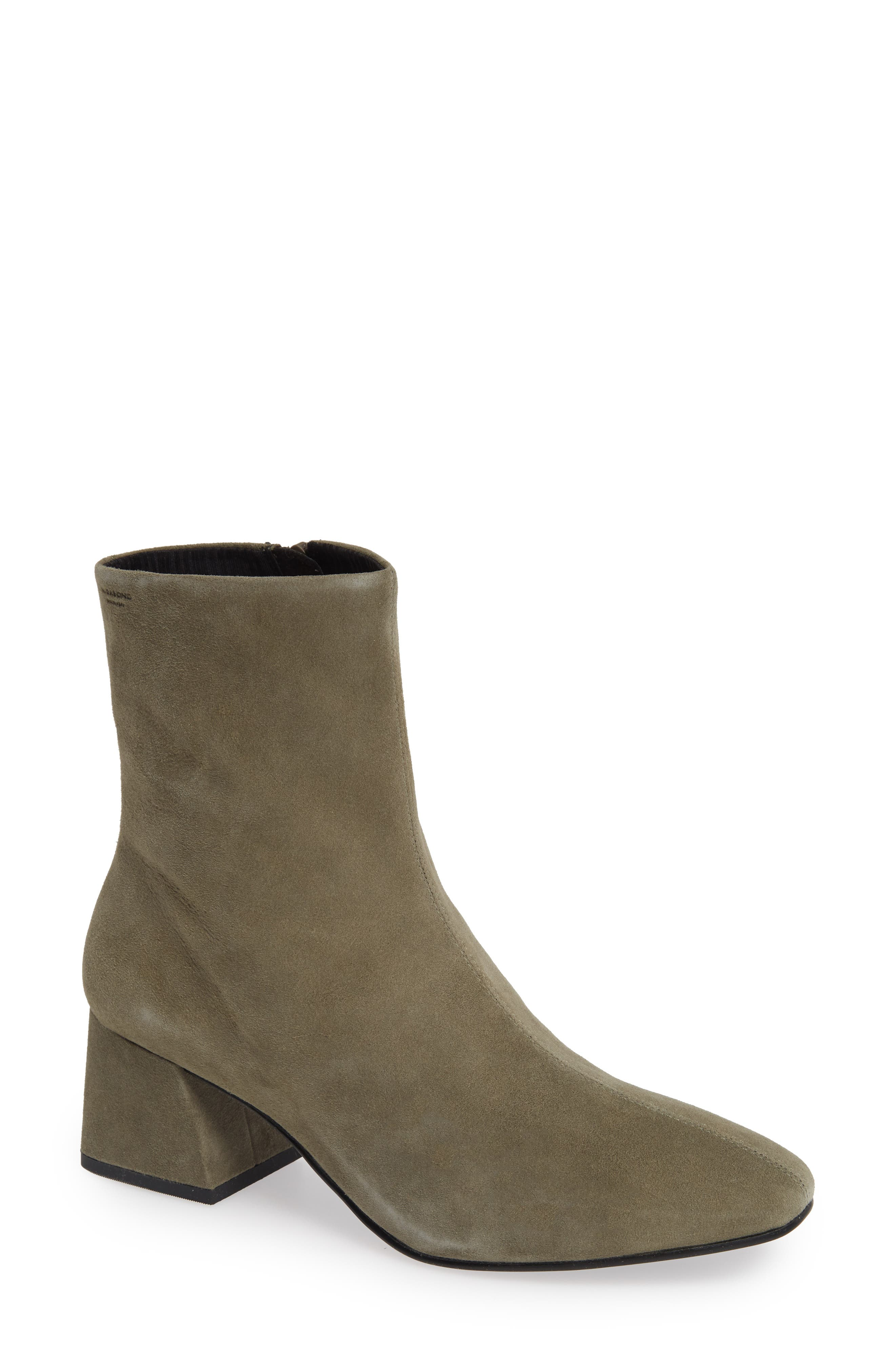 Shoemakers Alice Bootie in Light Olive Suede