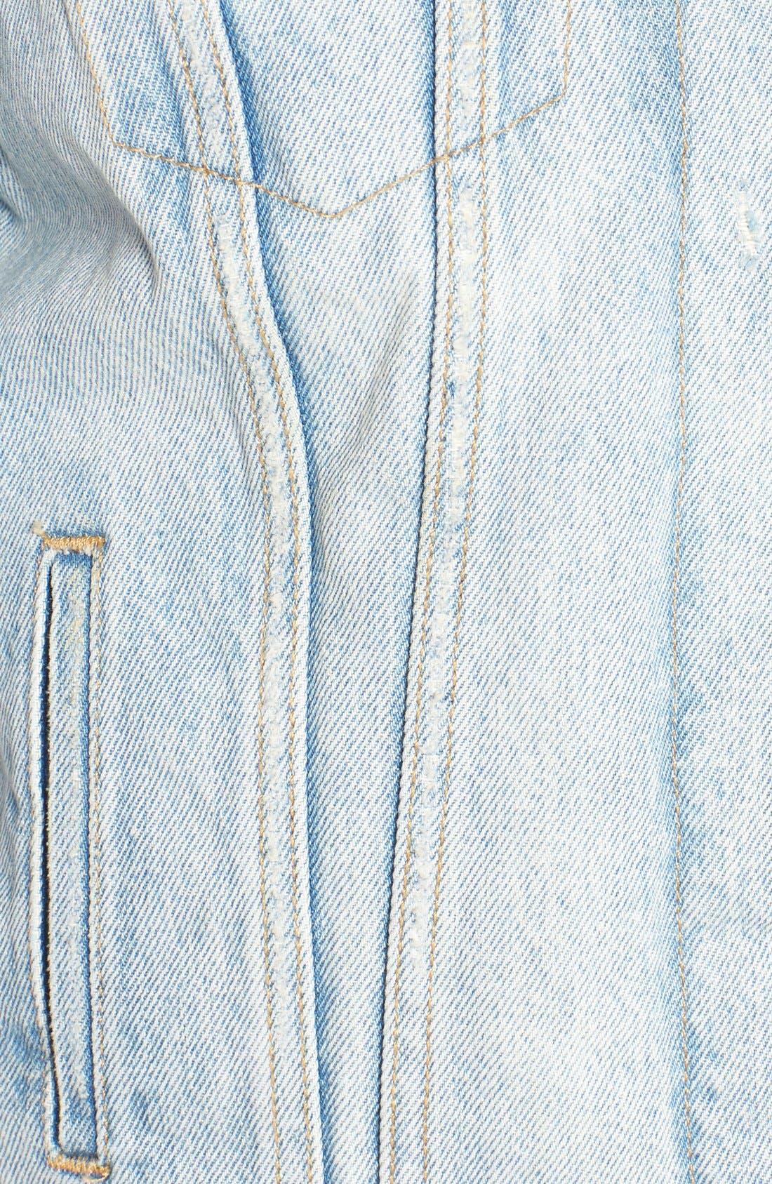 Trucker Jacket with Faux Fur Trim,                             Alternate thumbnail 5, color,                             420