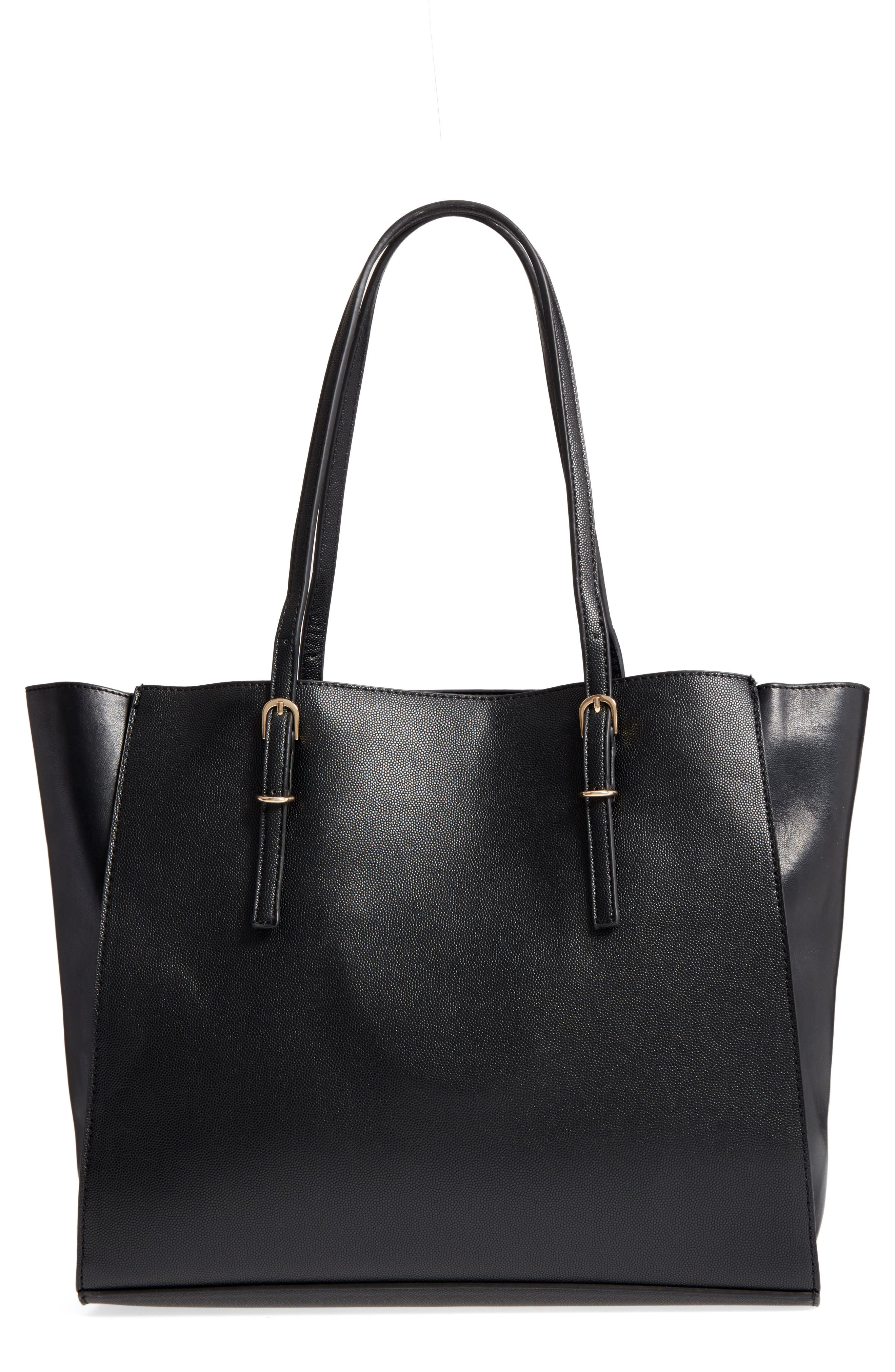 Faux Leather Buckle Tote,                             Main thumbnail 1, color,                             001